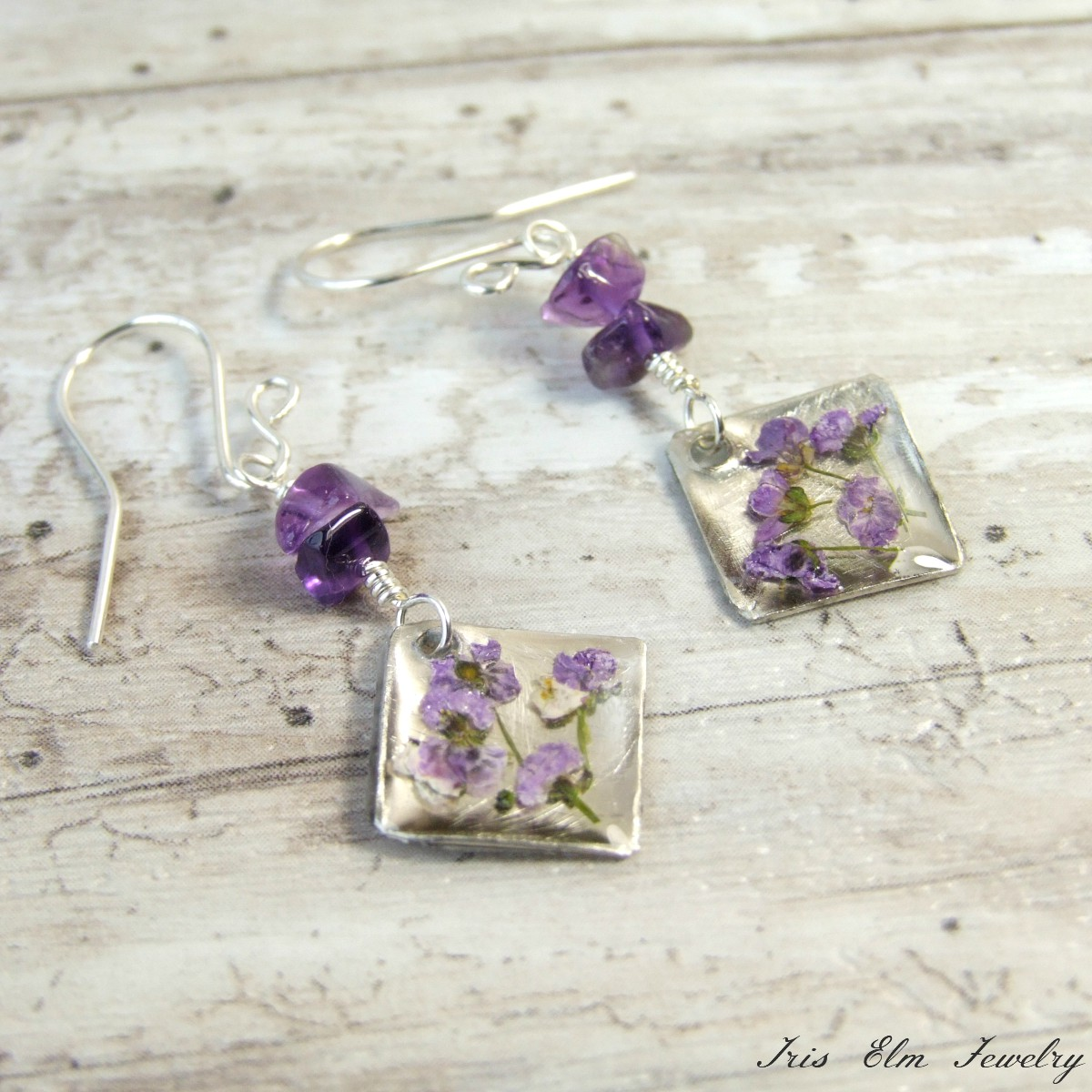 Amethyst & Real Purple Flower Earrings