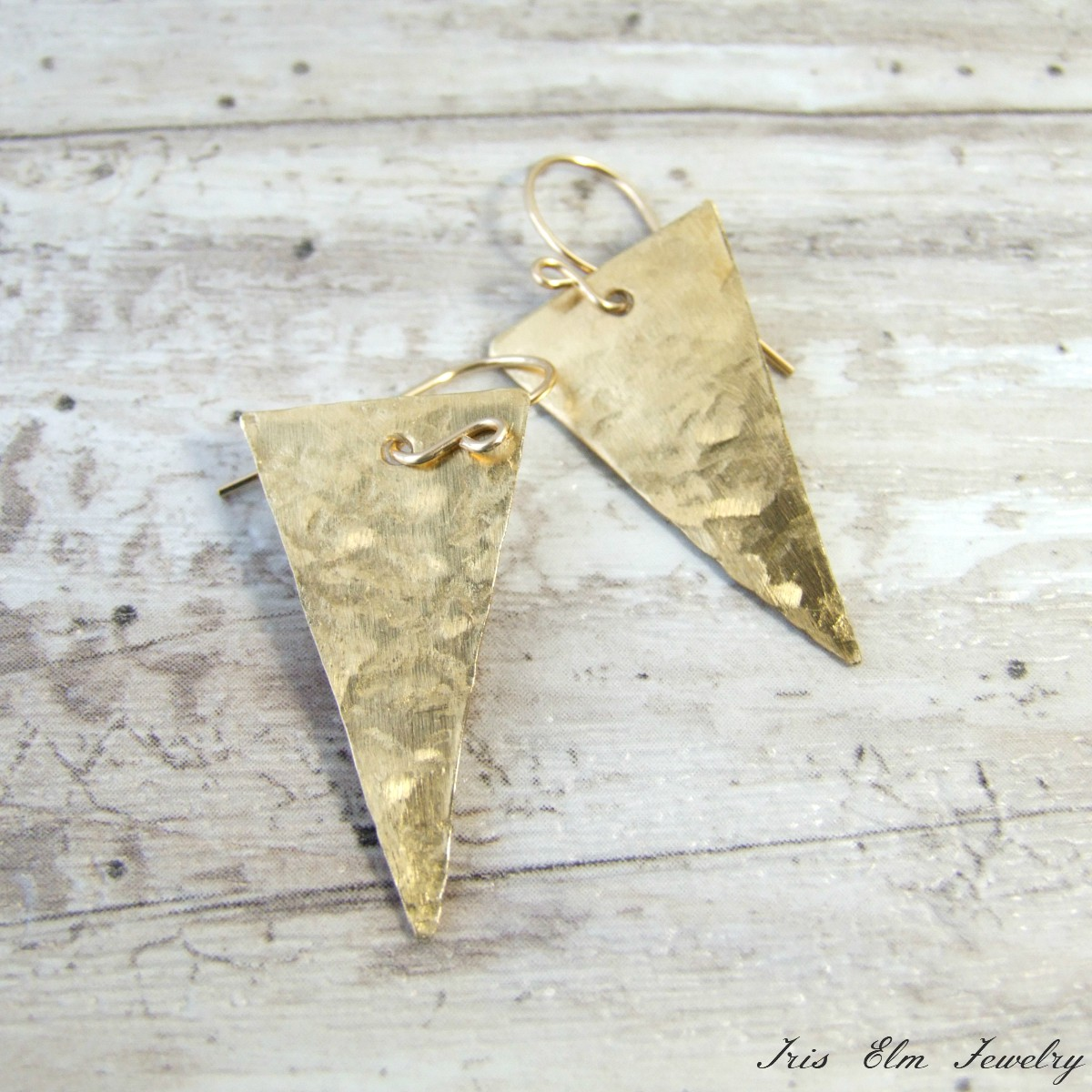 Modern Hammered Brass Triangle Earrings