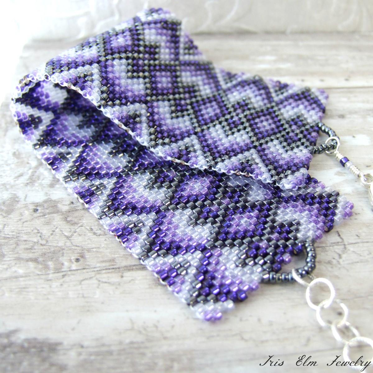 Boho Purple Woven Seed Bead Cuff Bracelet