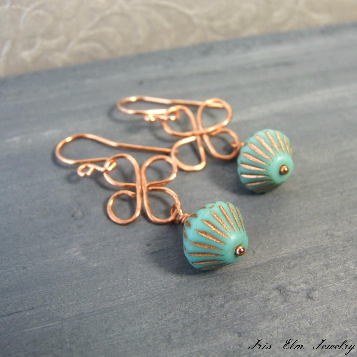 Copper & Turquoise Glass Clover Dangle Earrings