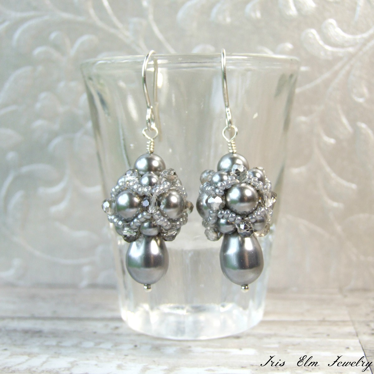 Vintage Style Beadwork Grey Pearl Earrings