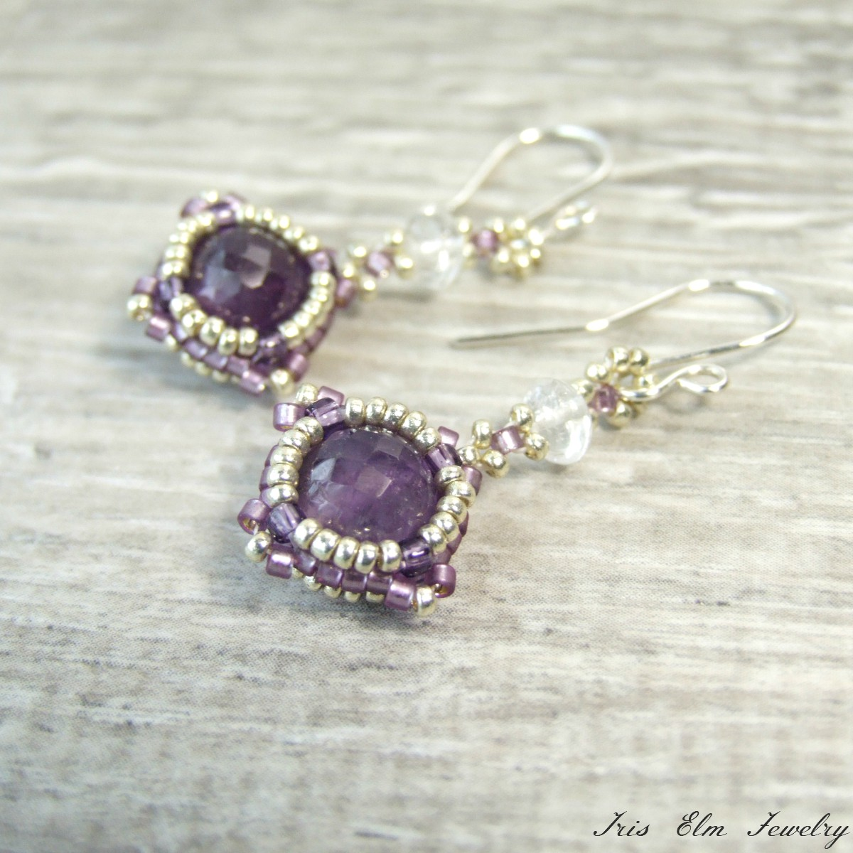 Dark Purple Amethyst & Crystal Drop Earrings