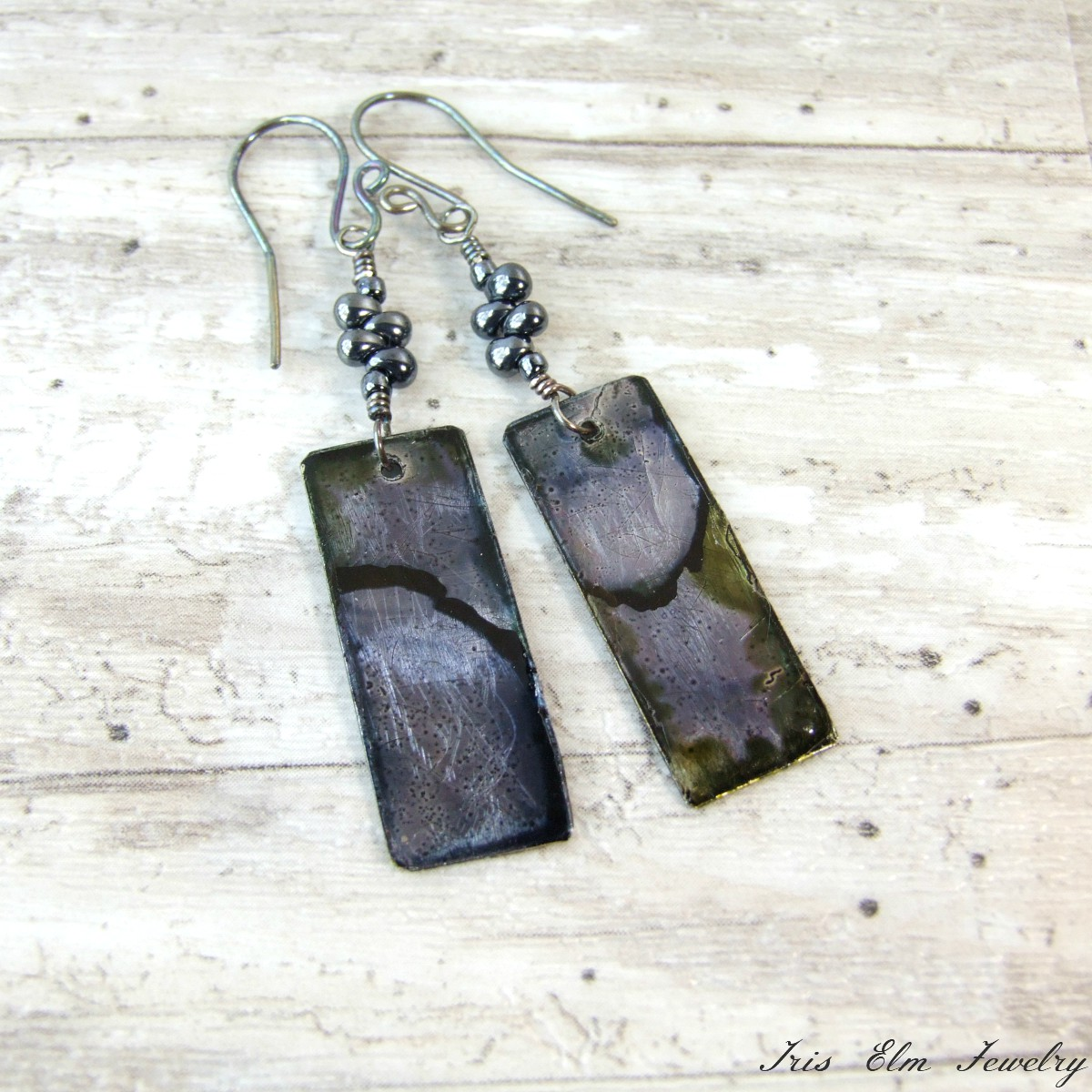 Unique Dyed Metal Boho Dangle Earrings