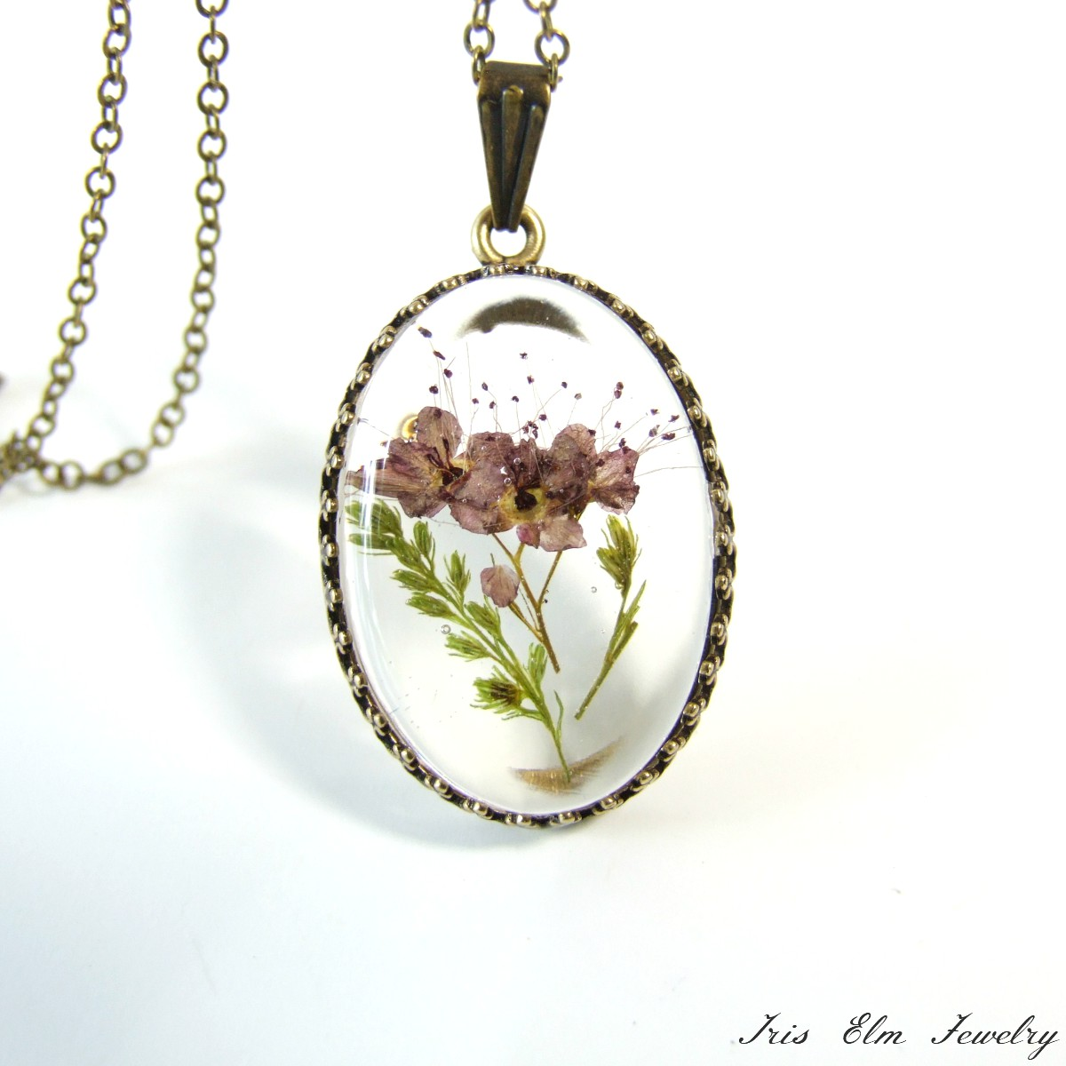 Small Mauve Real Pressed Flower Necklace