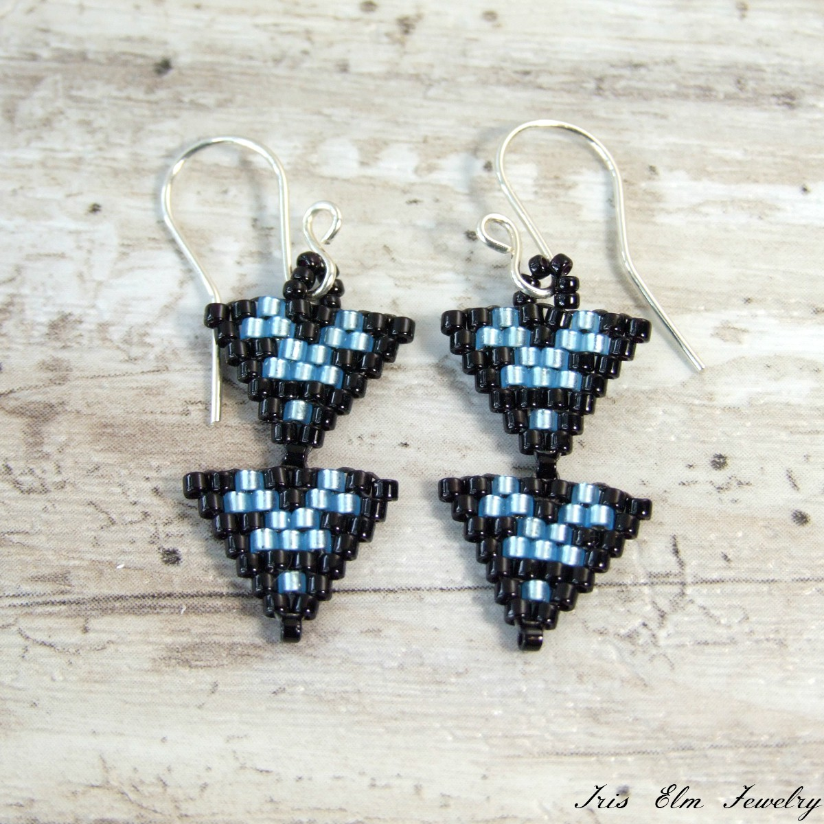 Black & Blue Small Double Triangle Earrings