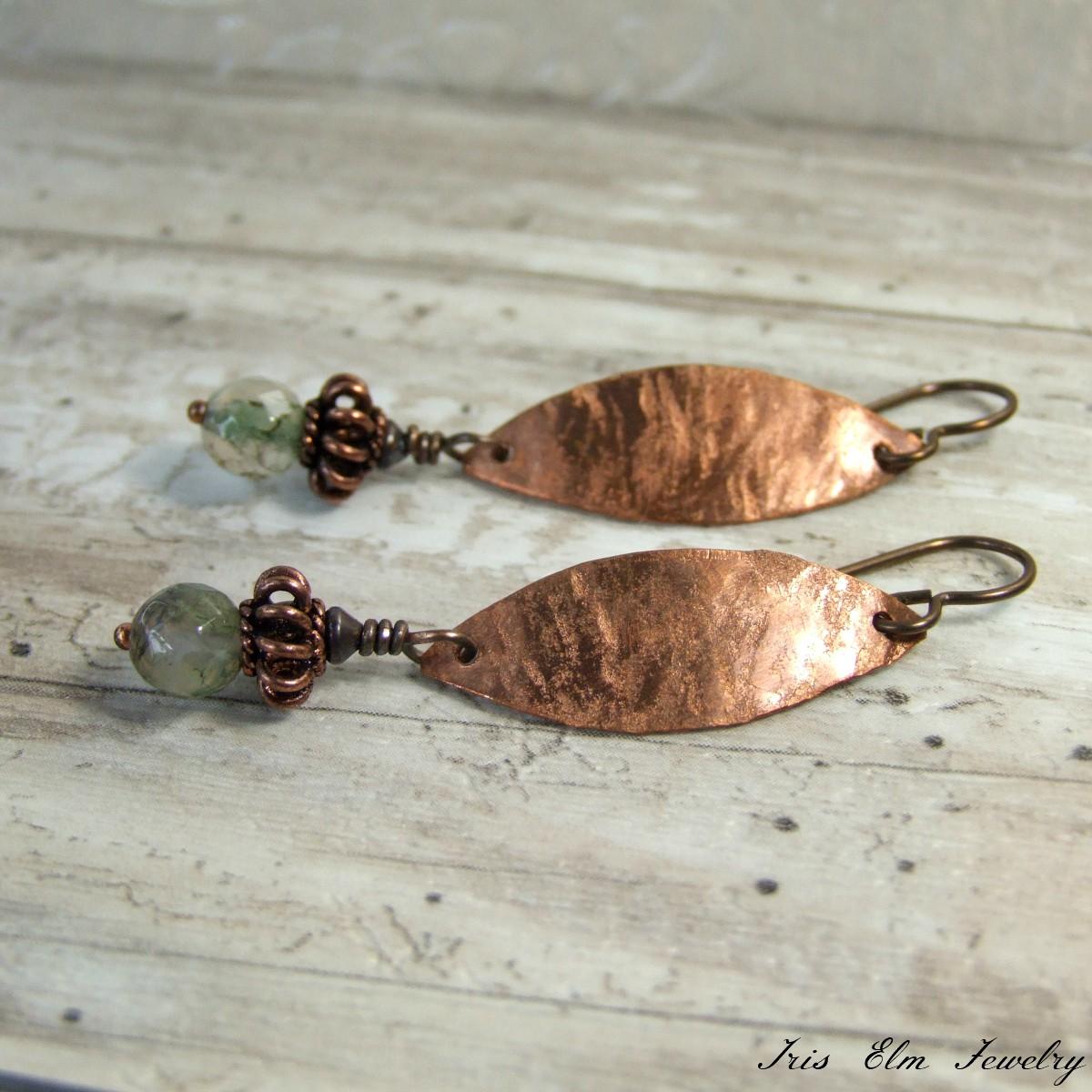 Moss Agate Copper Metal Earrings
