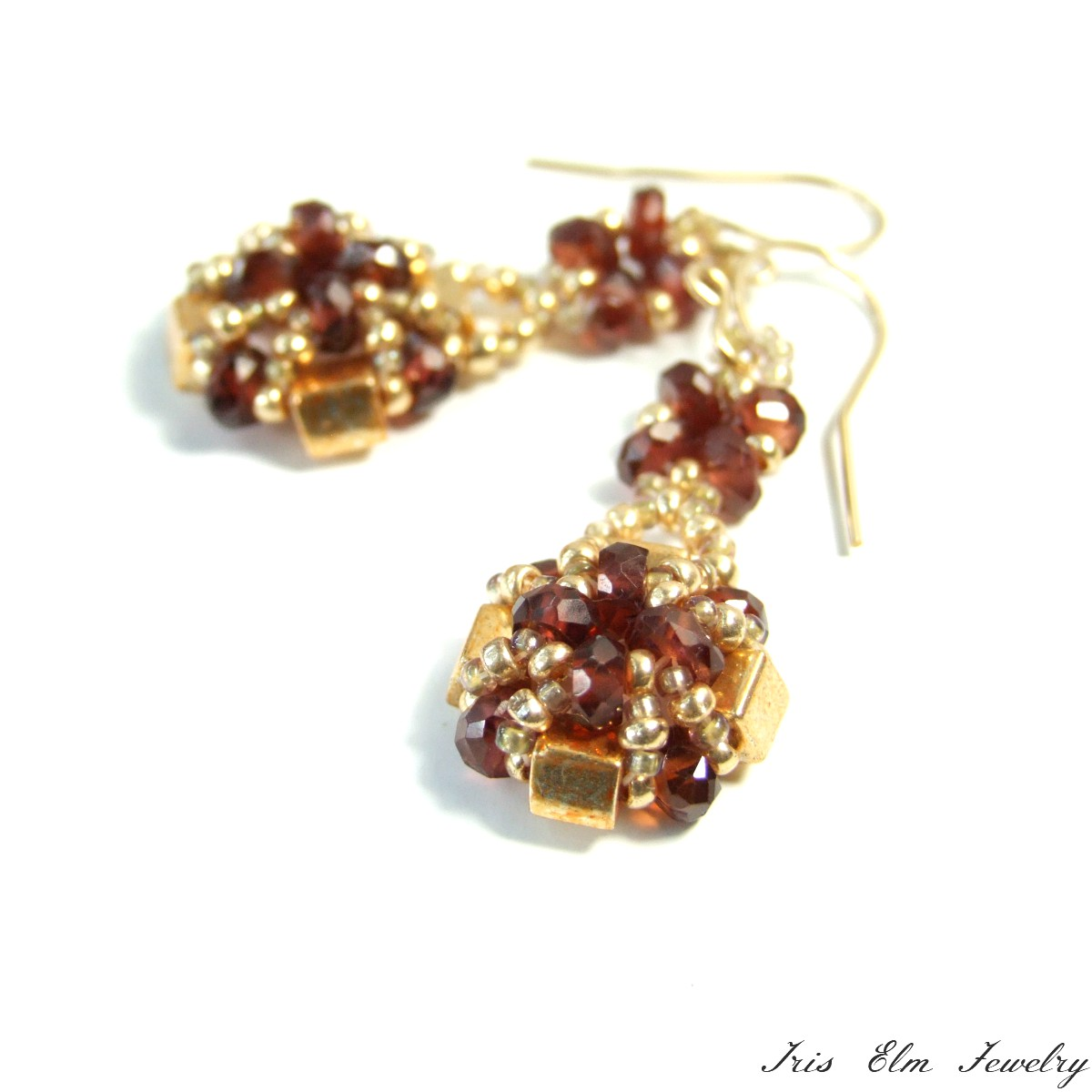 Unique Gold Garnet Earrings