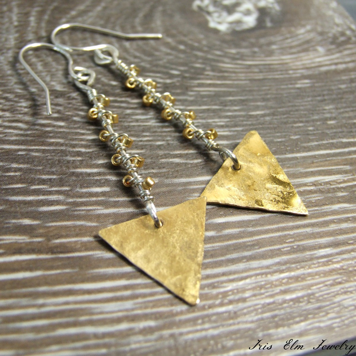 Brass & Sterling Triangle Dangle Earrings
