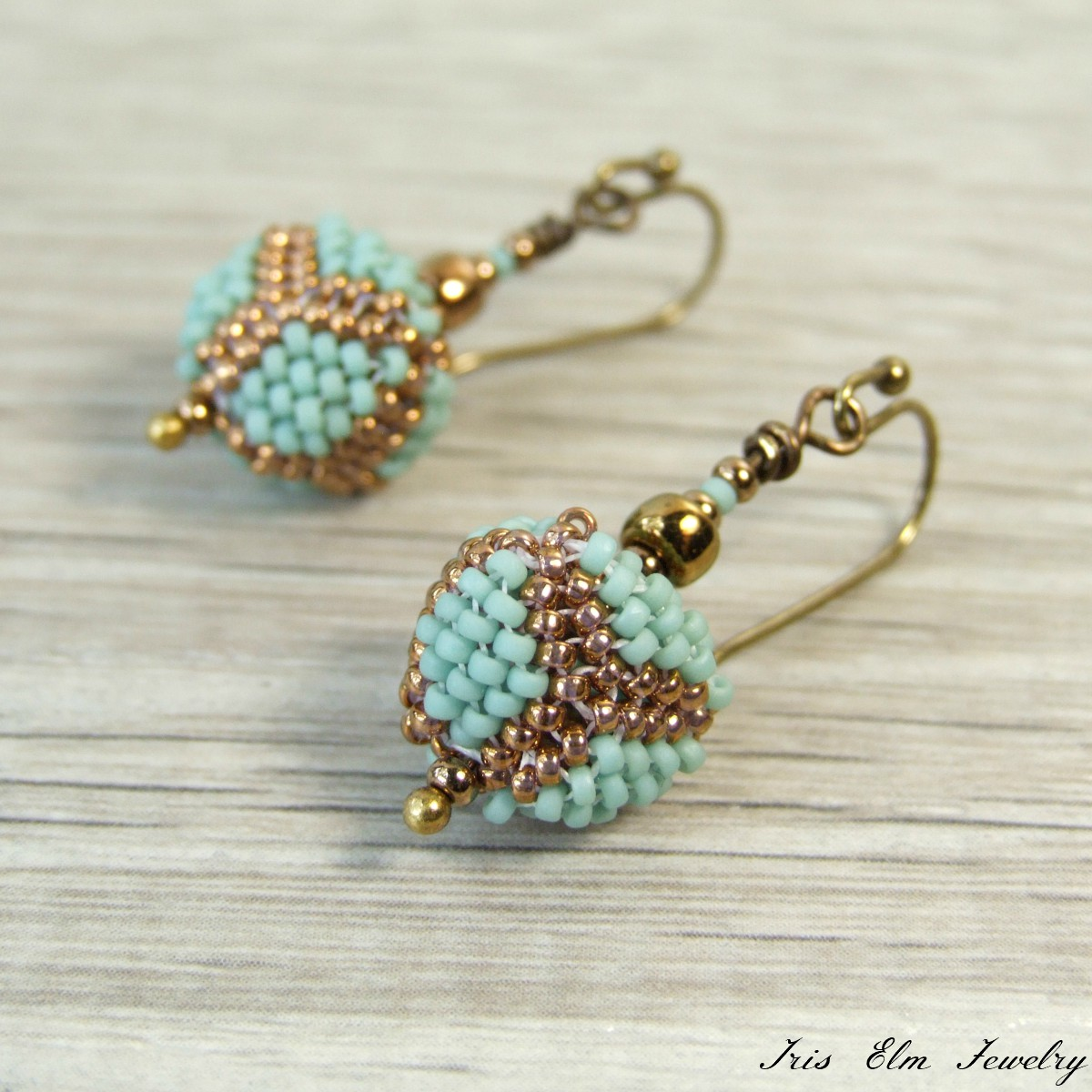 Seafoam & Bronze Beaded Triangle Drop Earrings