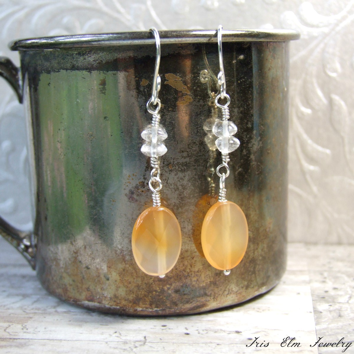 Light Orange Agate & Quartz Crystal Dangle Earrings