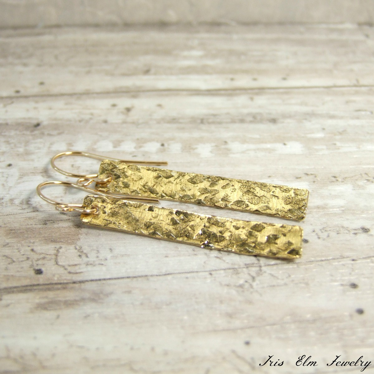 Hammered Brass Gold Bar Dangle Earrings