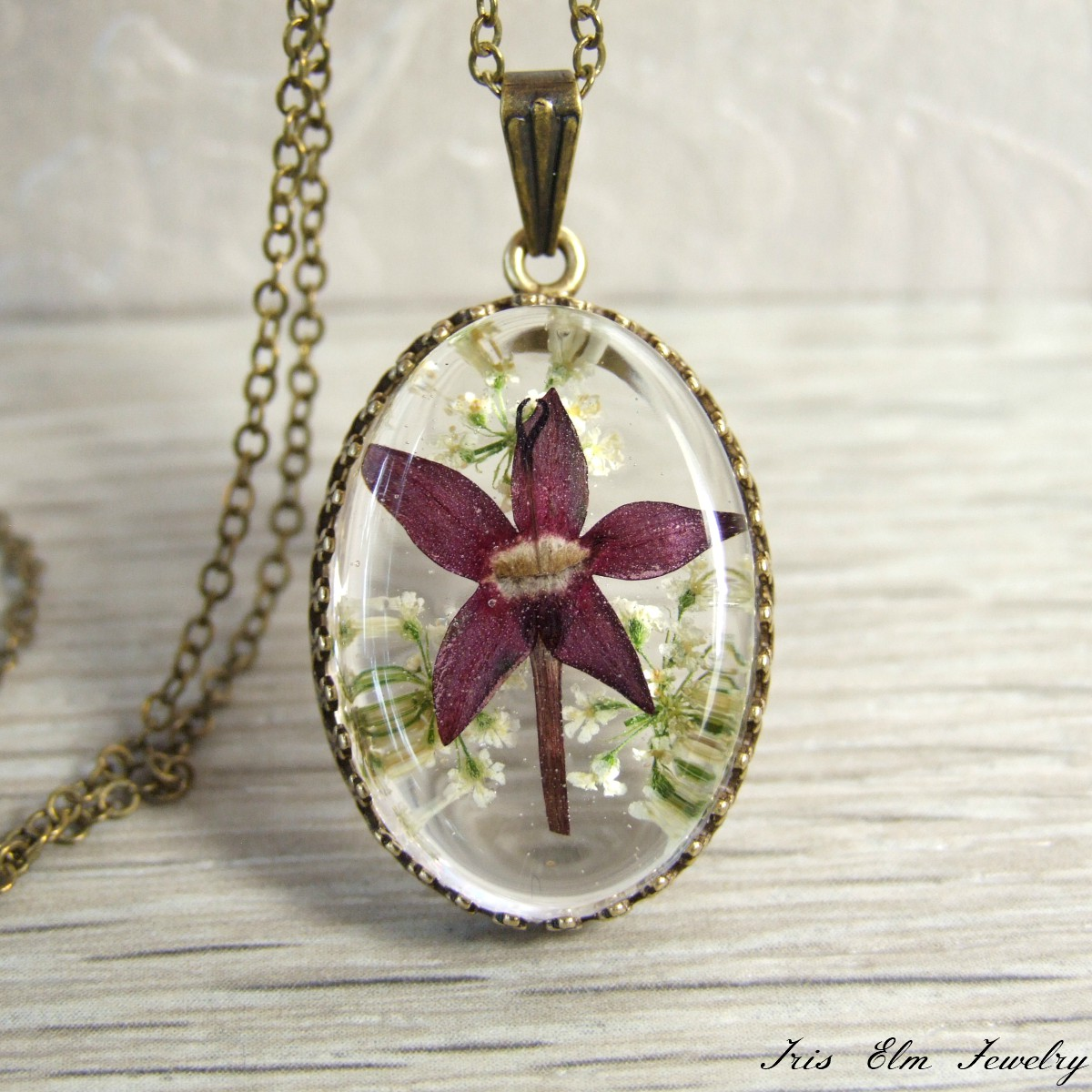 Purple Real Flower Oval Pendant Necklace