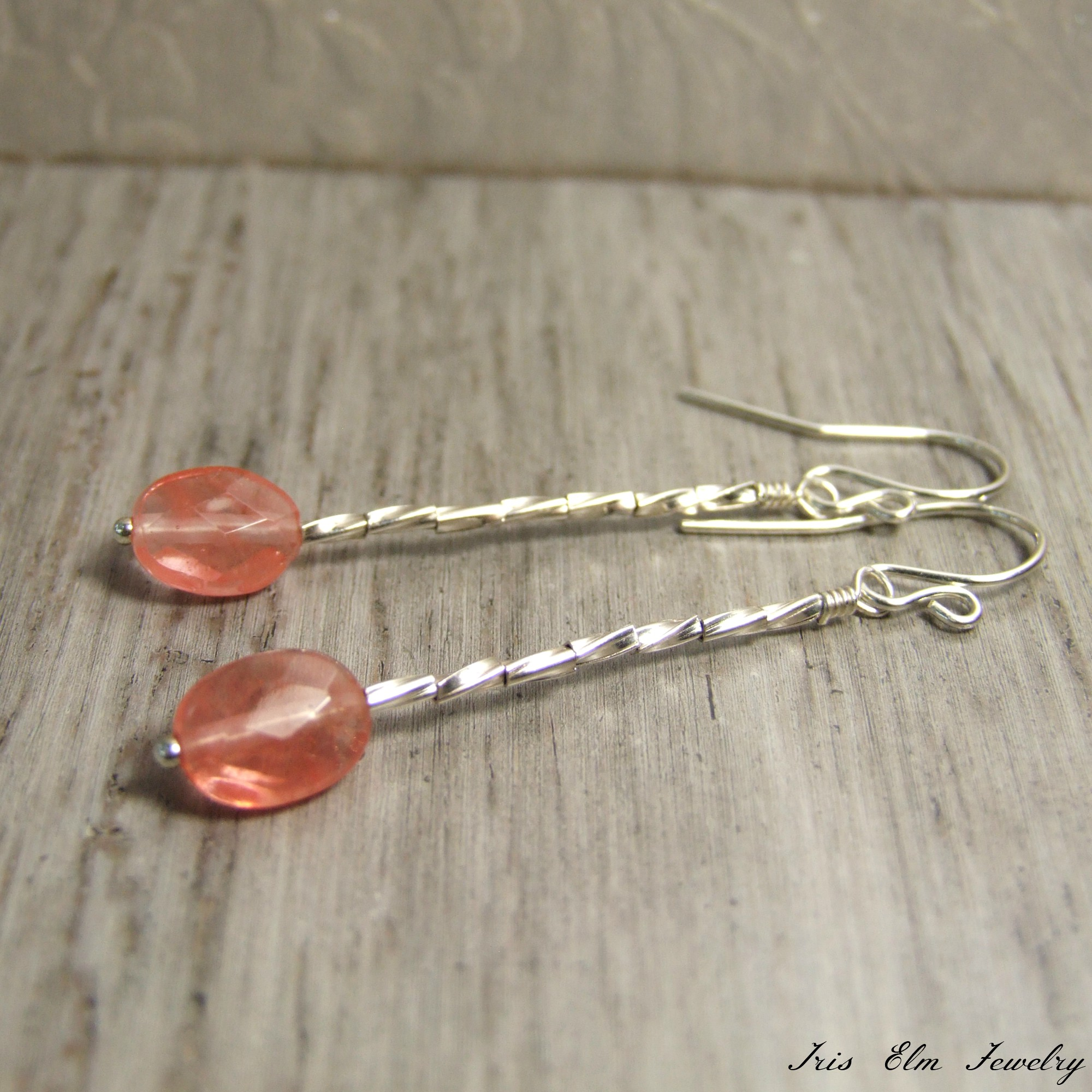 Small Oval Pink Cherry Quartz Sterling Drop Earrings