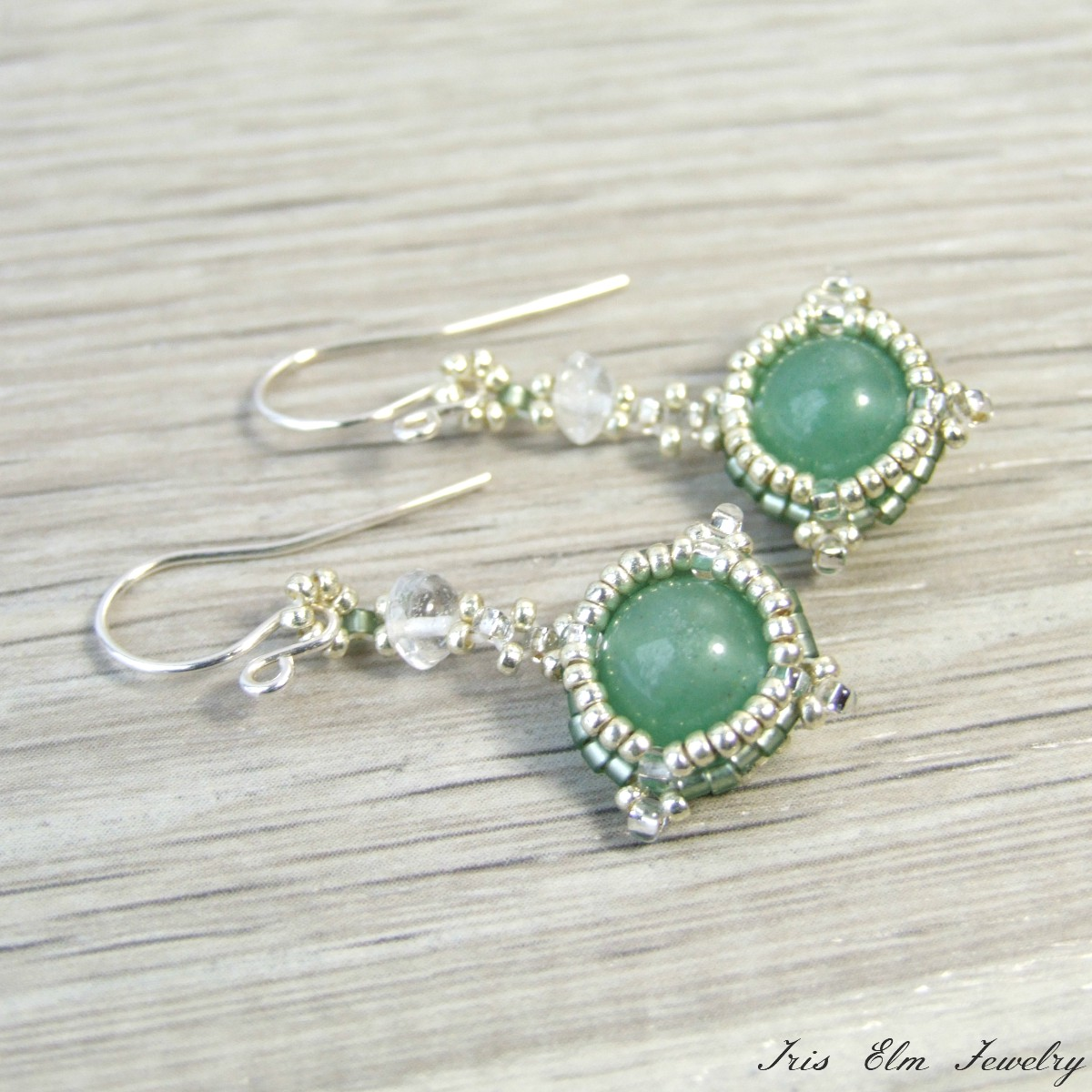 Green Aventurine Drop Earrings with Quartz Crystal
