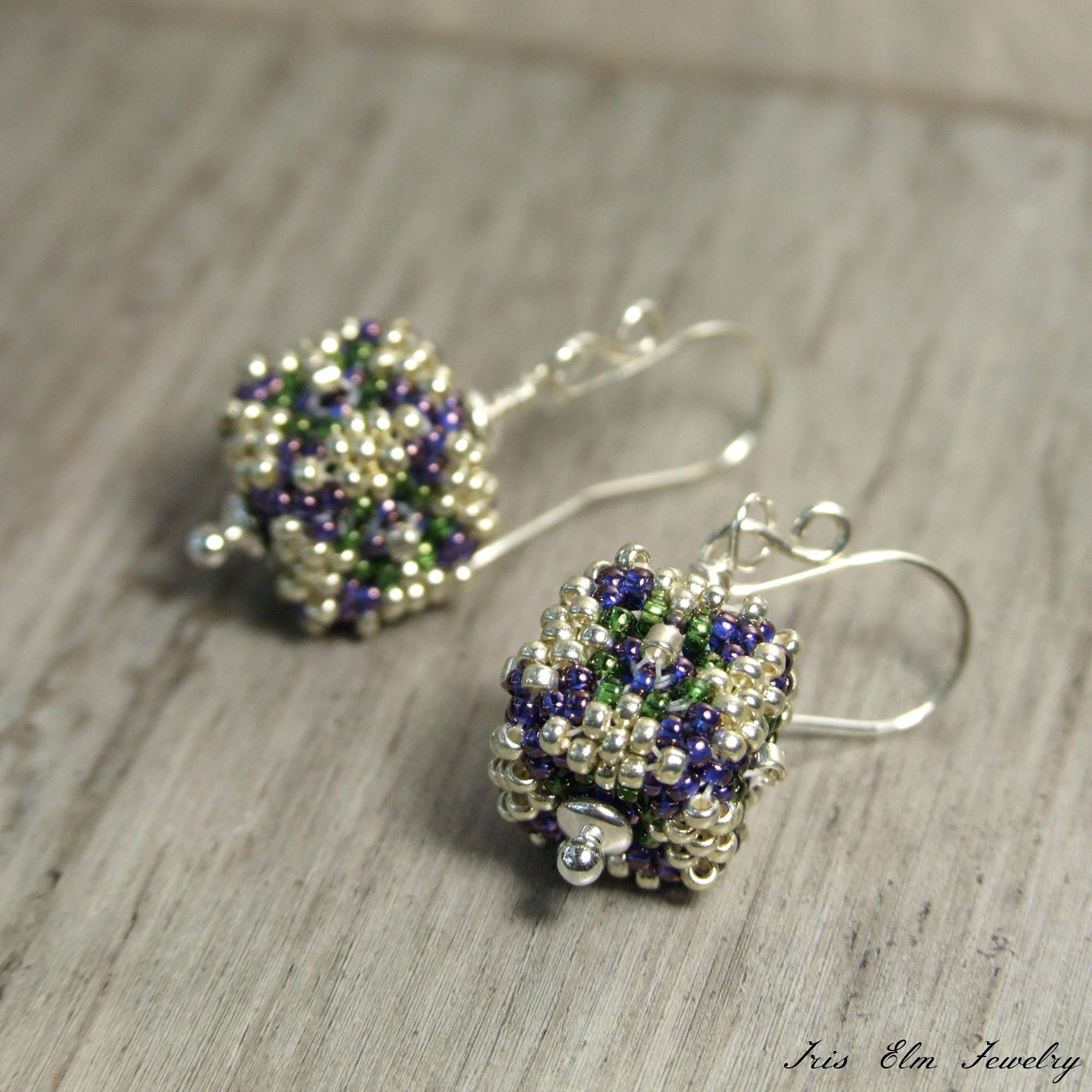 Purple & Green Small Cube Beaded Bead Silver Drop Earrings