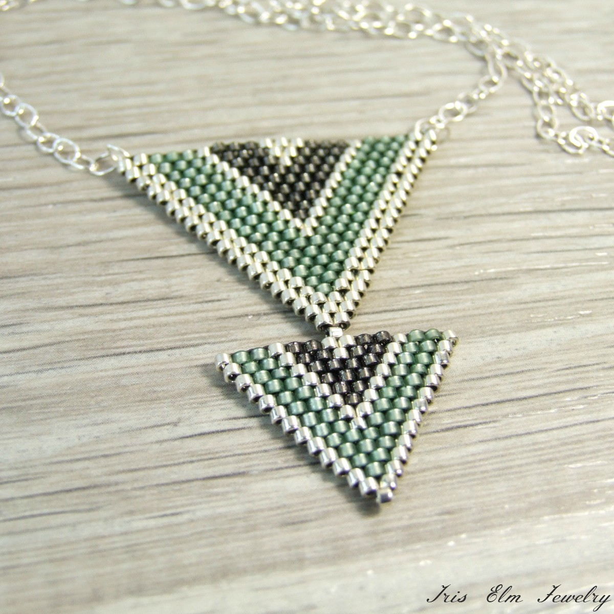 Sage Green & Grey Triangle Seed Bead Necklace