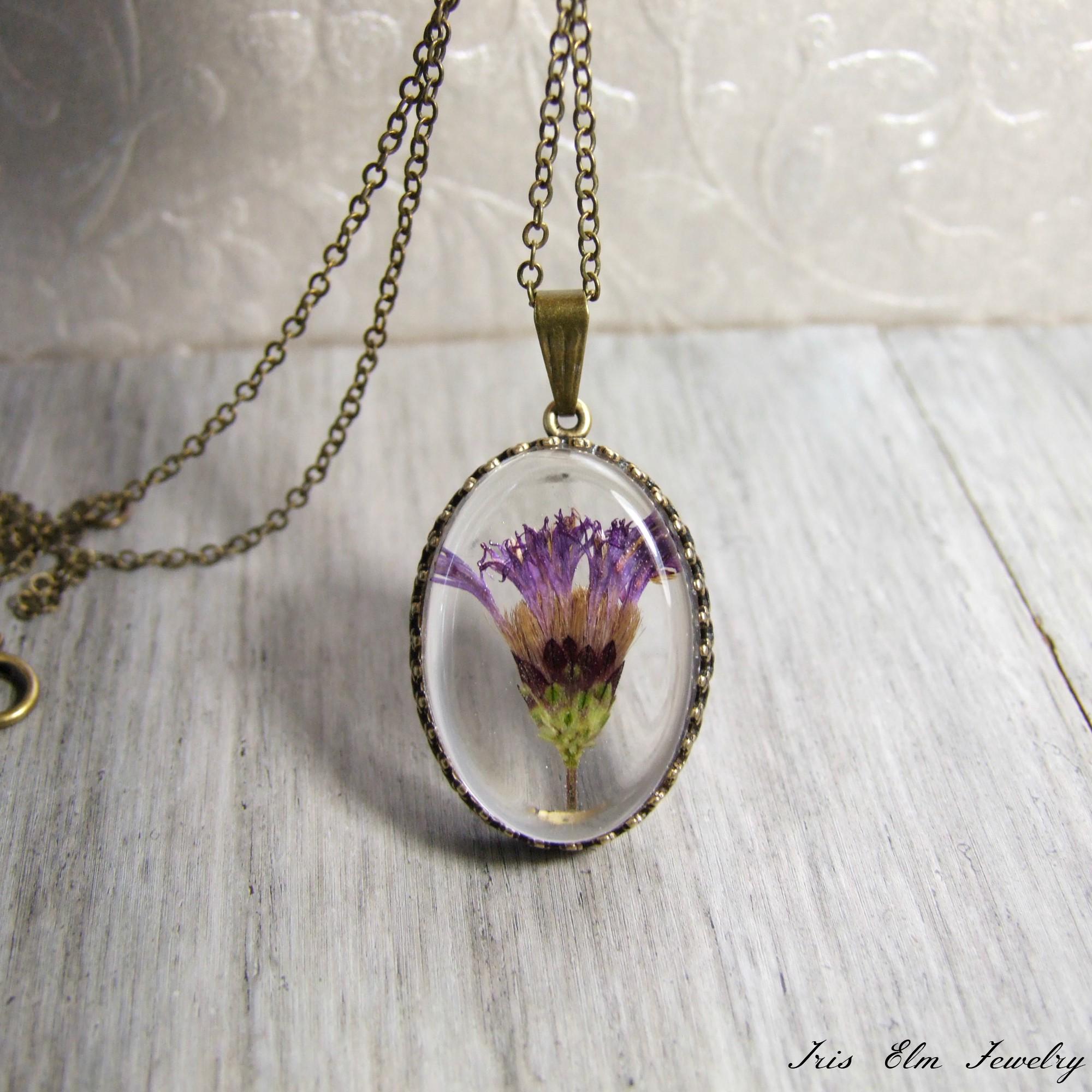 Purple Minnesota Wildflower Pendant Necklace