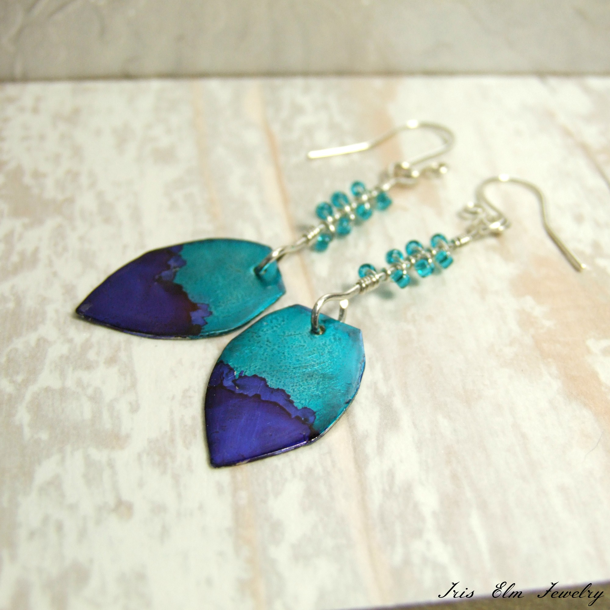 Cobalt Blue & Teal Unique Boho Metal Earrings