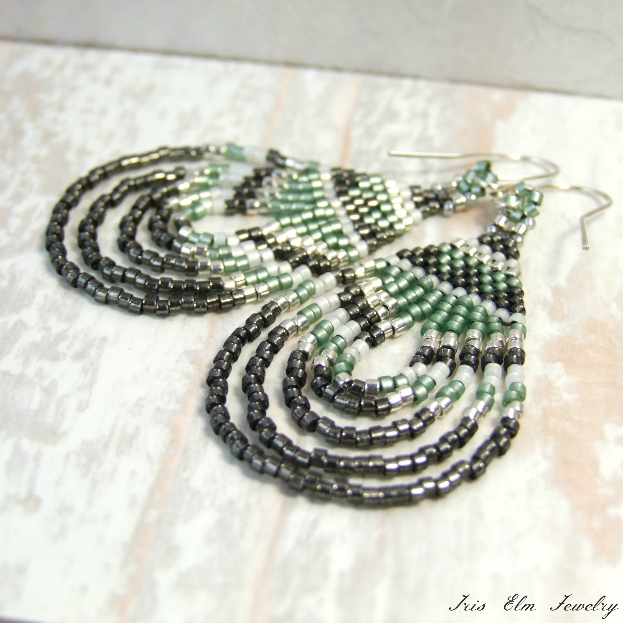 Bohemian Sage Green & Grey Seed Bead Earrings