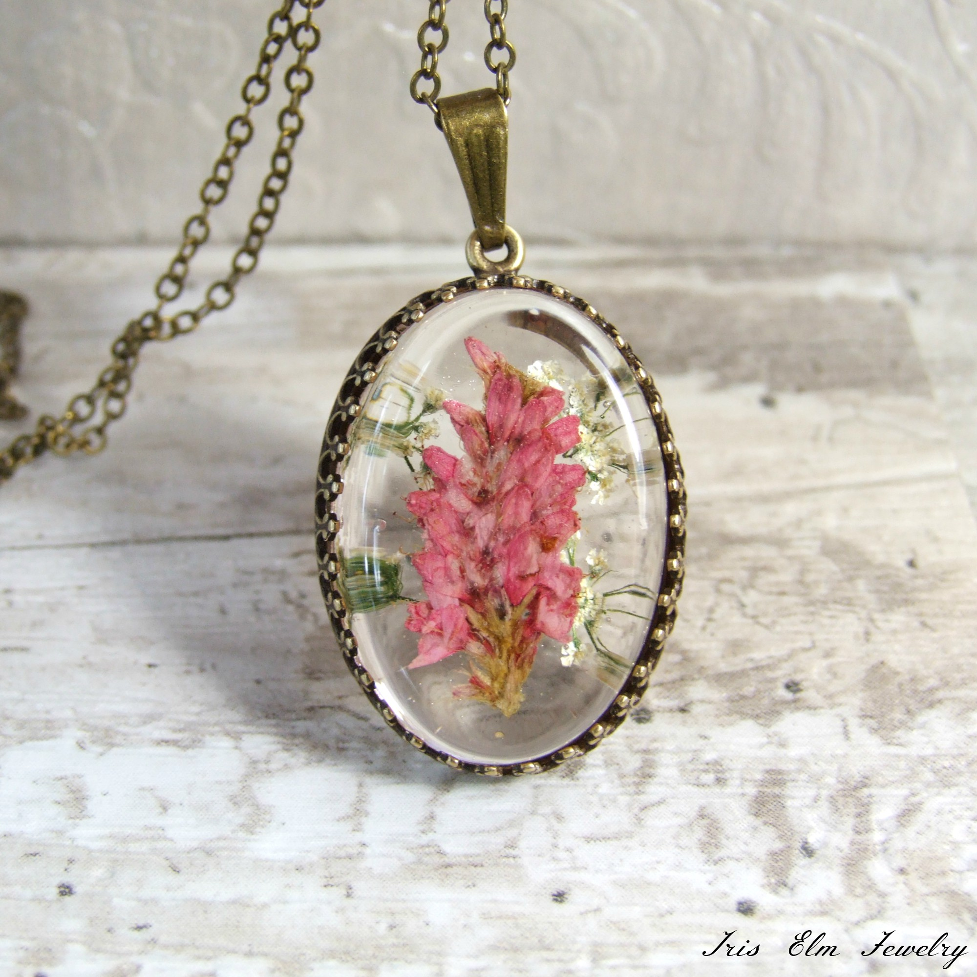 Pink Wildflower Pendant Necklace