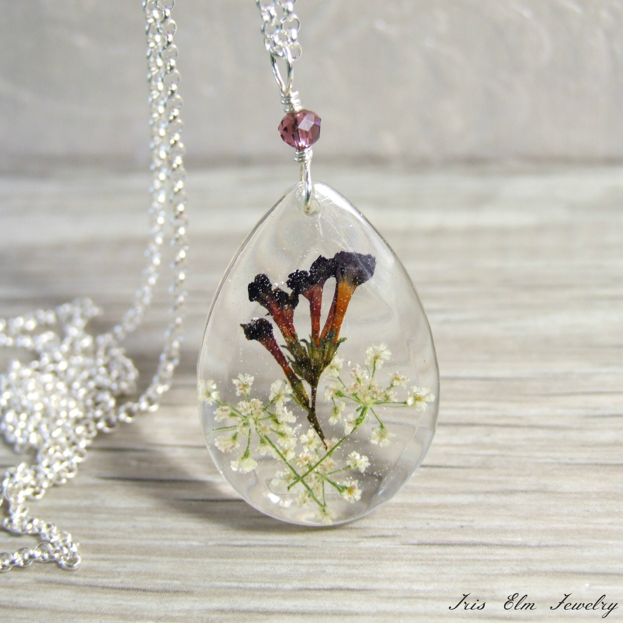 Teardrop Shaped Dark Purple & White Sterling Pressed Wildflower Necklace