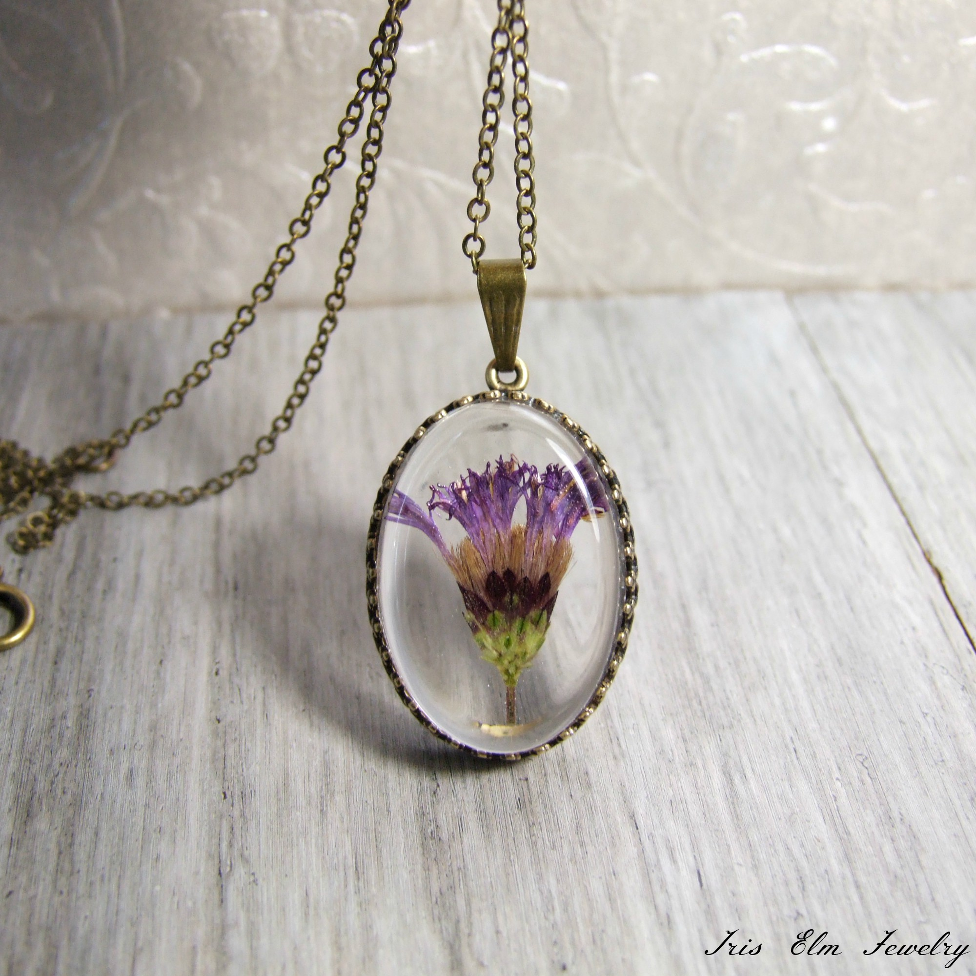 Purple Minnesota Wildflower Pendant Necklace
