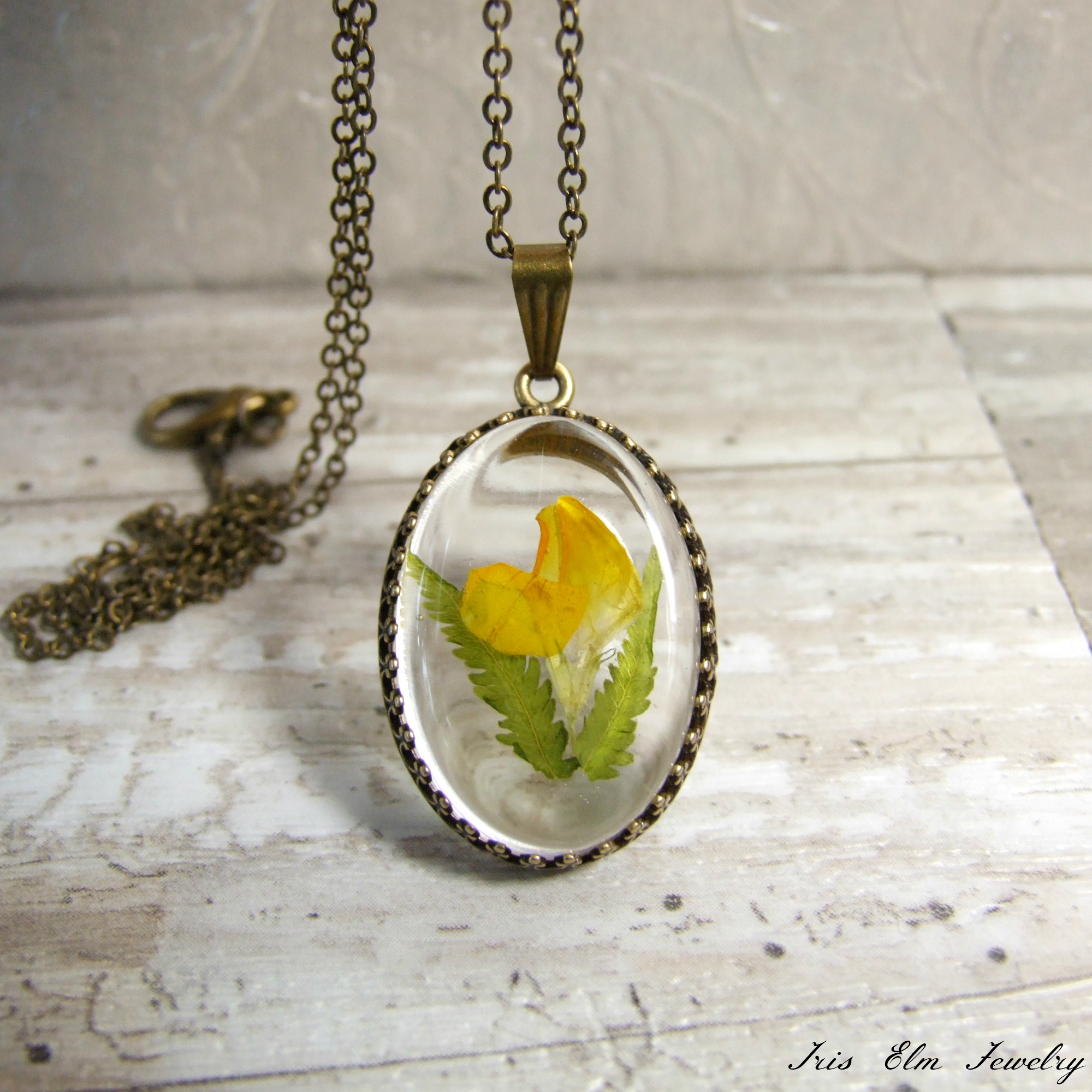 Yellow Trefoil Wildflower & Fern Resin Pendant Necklace