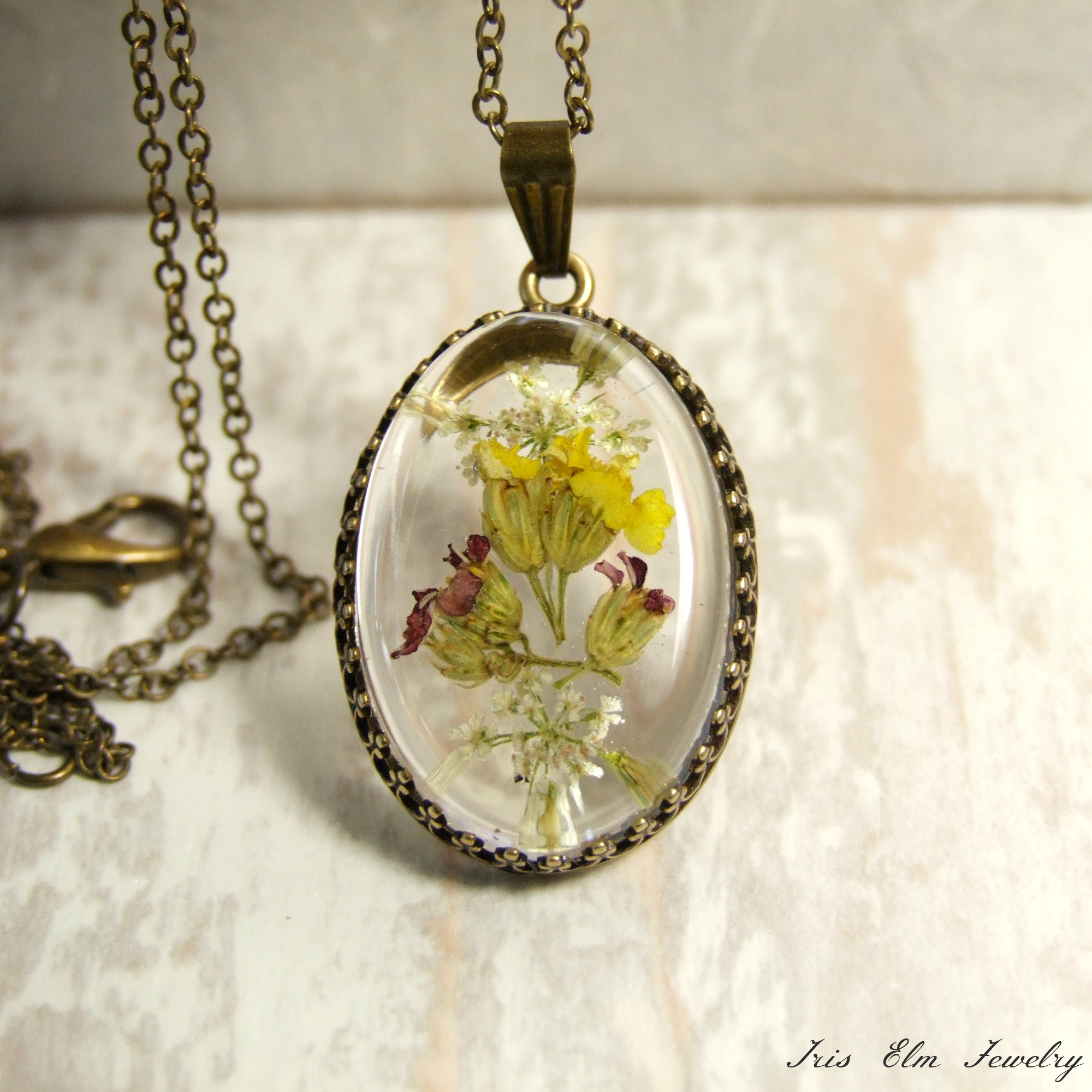 Resin Wildflower Necklace
