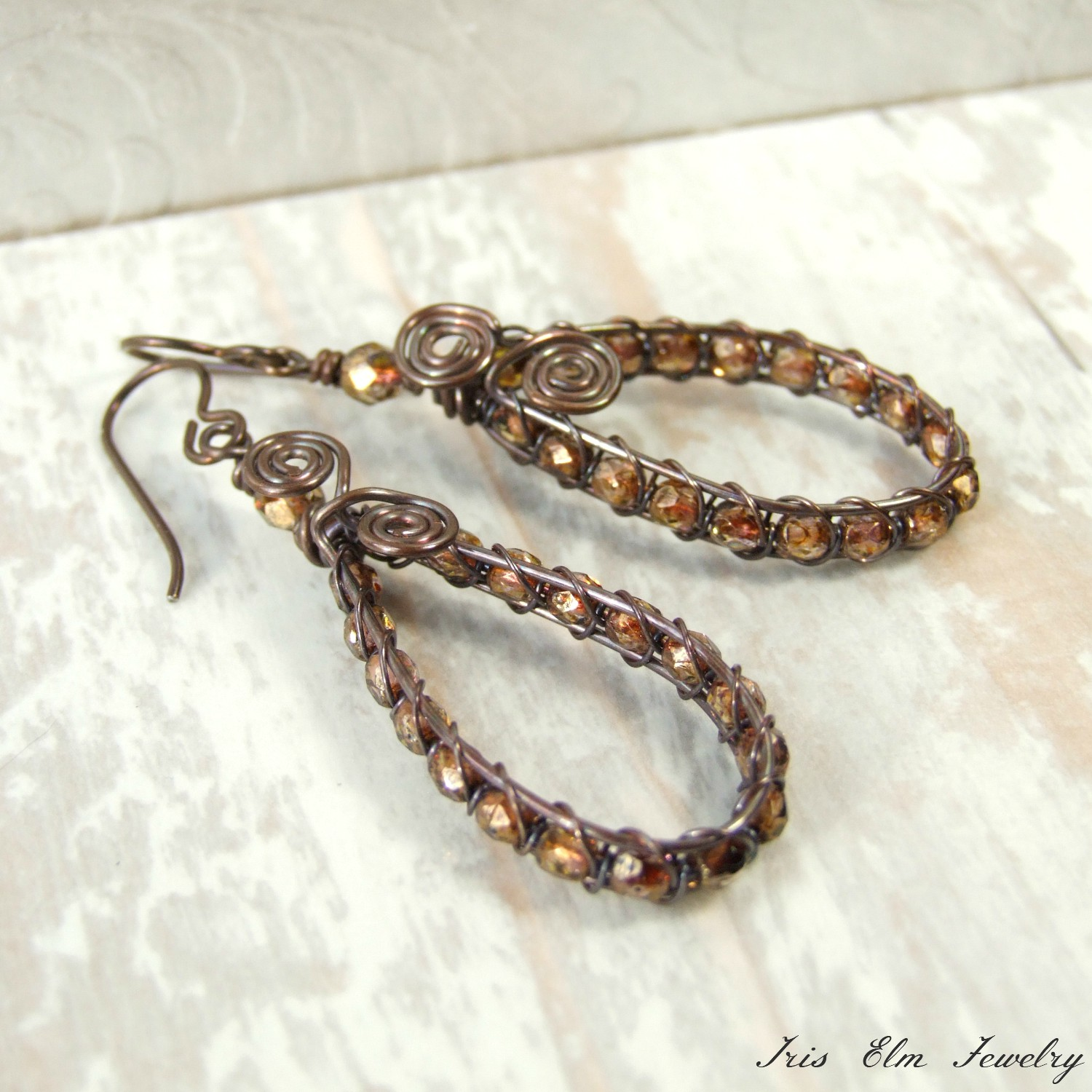 Brown Czech Glass Wire Wrapped Antiqued Copper Teardrop Earrings