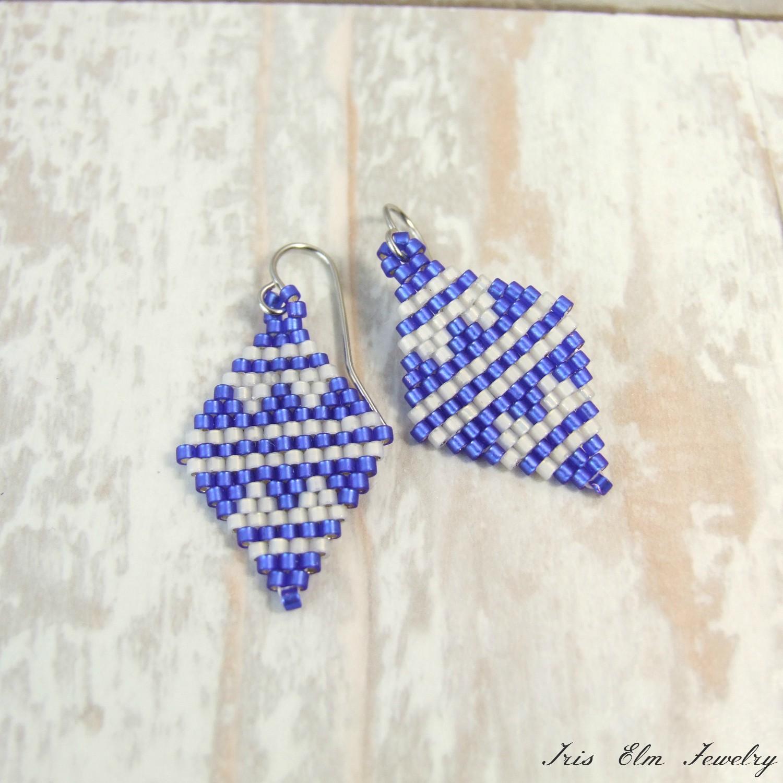 Blue & White Small Diamond Shaped Glass Bead Earrings