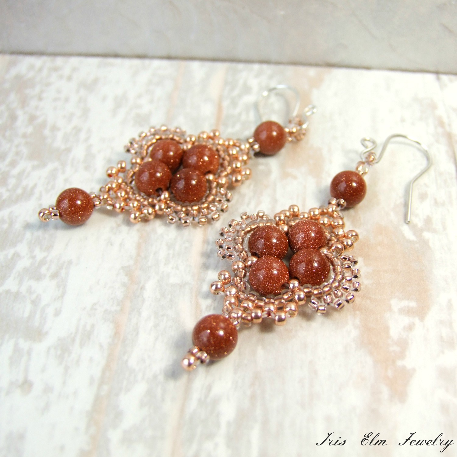 Copper Brown Goldstone Bohemian Dangle Earrings