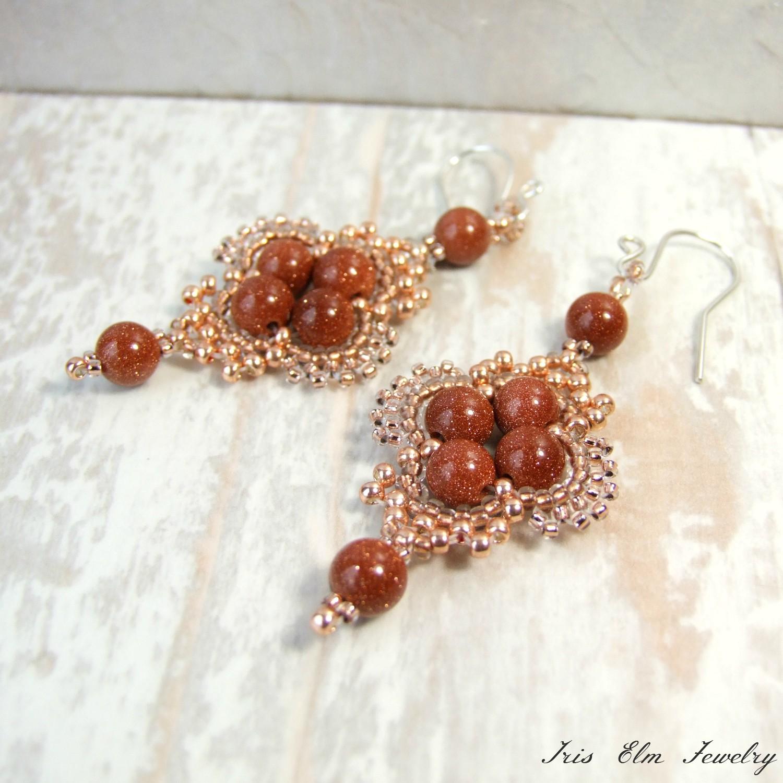 Copper Brown Goldstone Bohemian Dangle Earrings