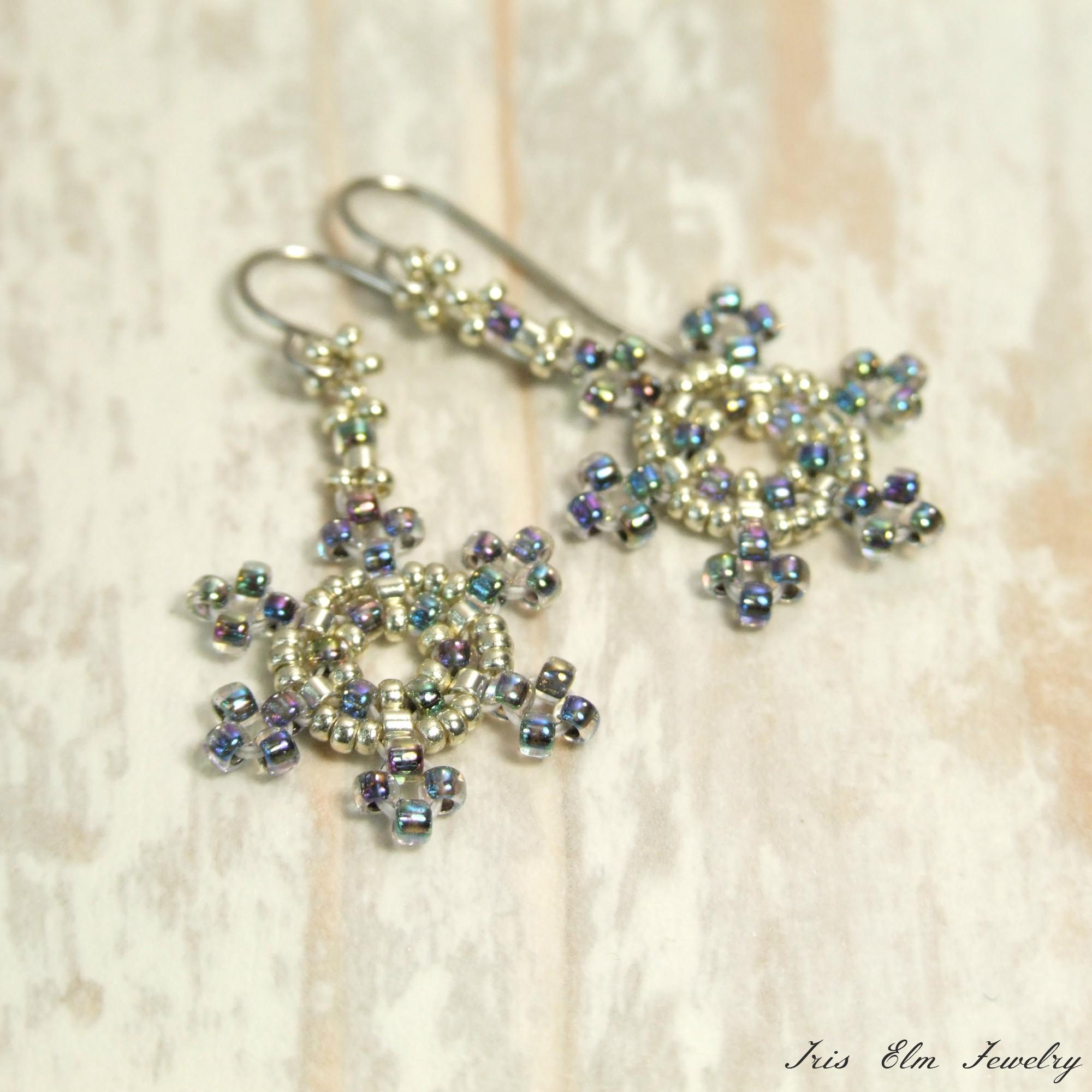 Iridescent Snowflake Glass Seed Bead Winter Dangle Earrings