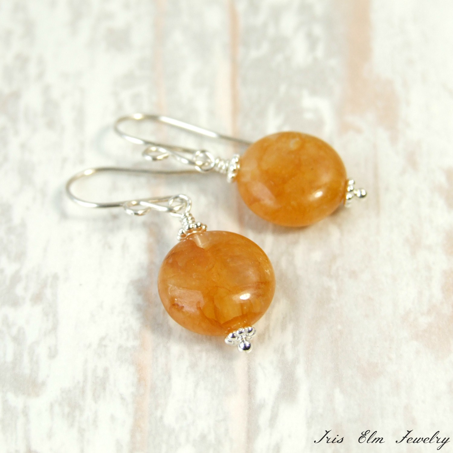 Small Round Yellow Quartz Sterling Stone Drop Earrings