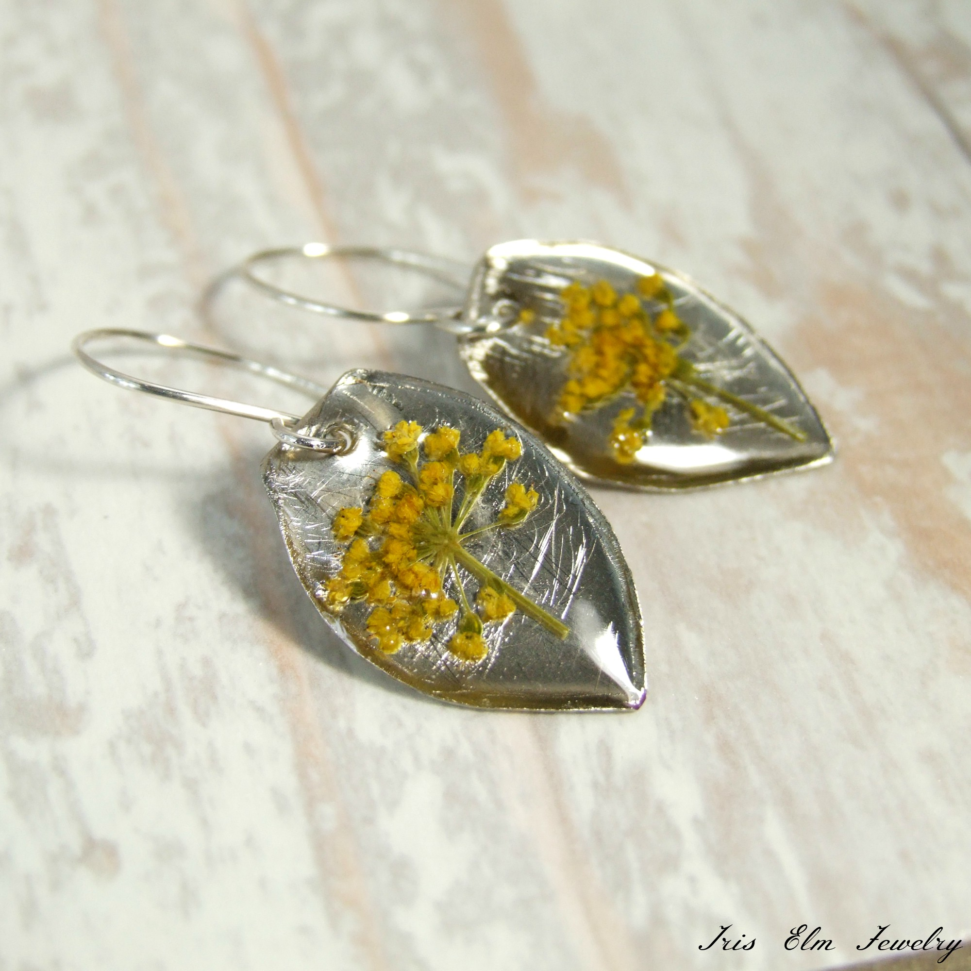Yellow Real Pressed Wildflower Bohemian Earrings