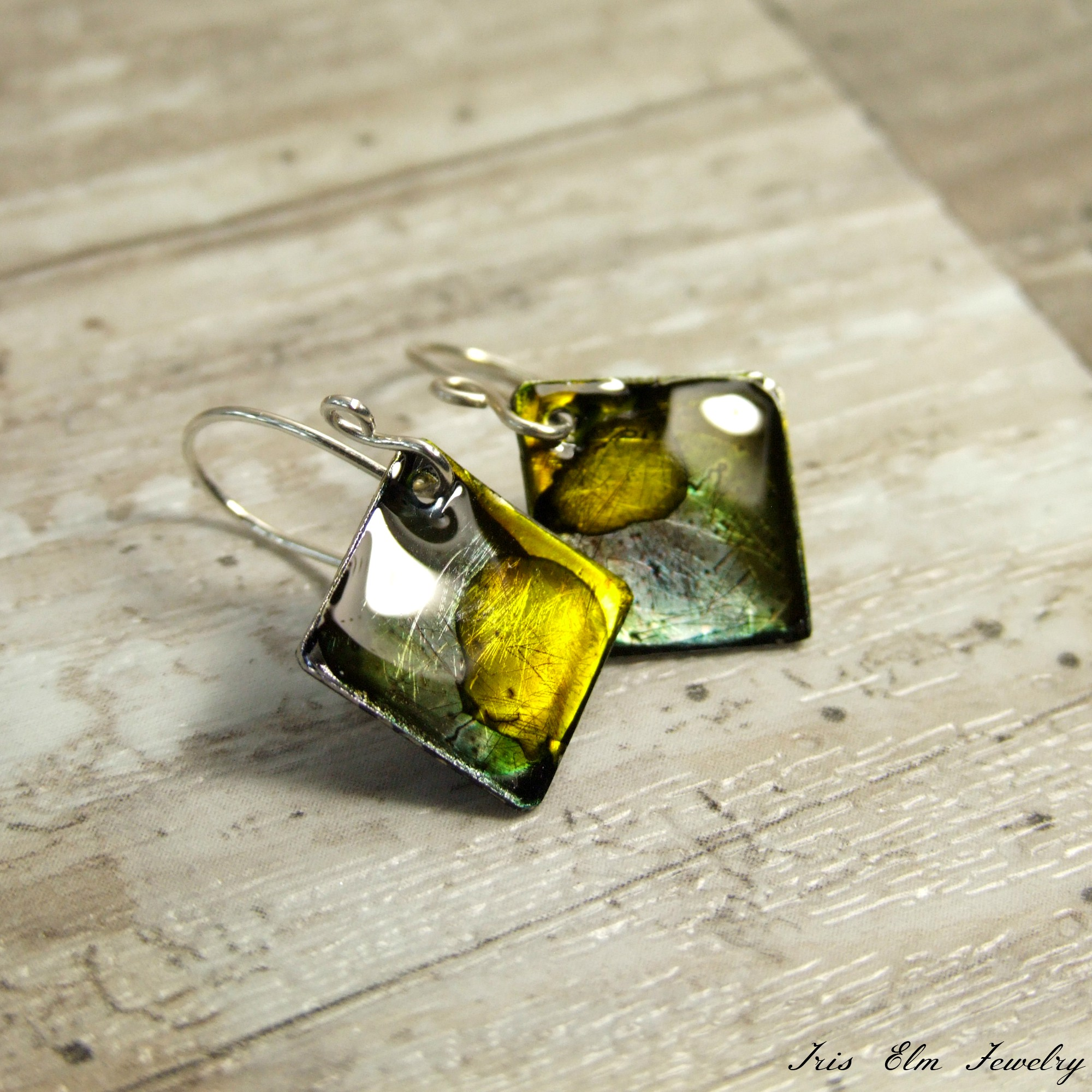 Unique Small Square Resin Alcohol Ink Earrings