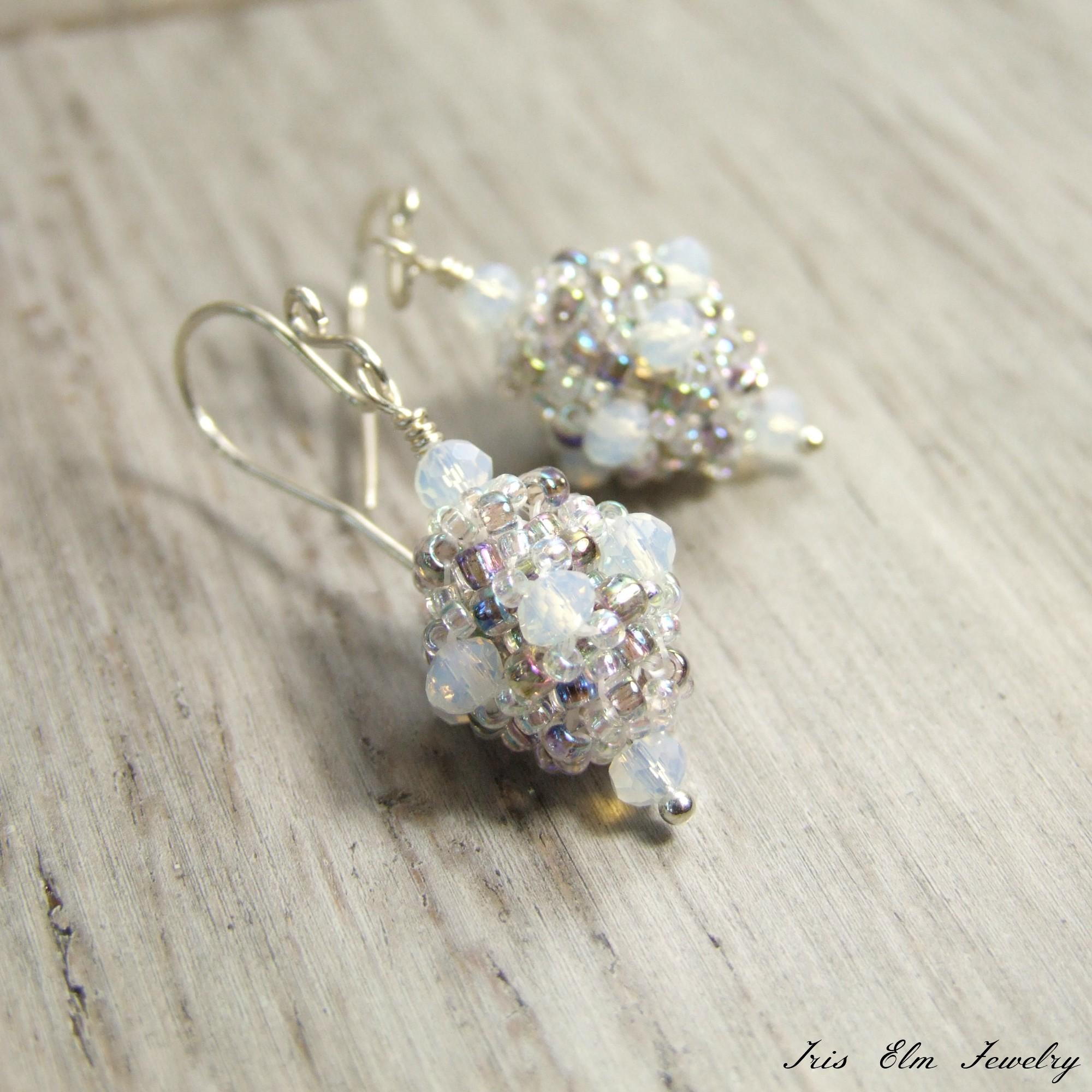 Pretty Iridescent Beaded Bead Glass Earrings