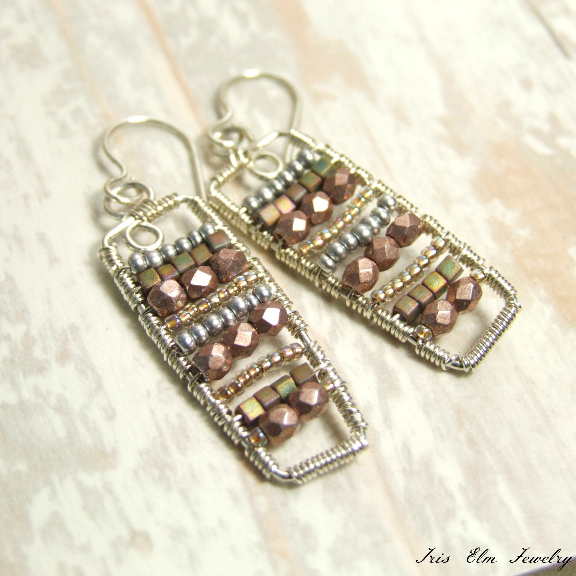Sterling Silver Bohemian Wire Wrap Glass Bead Dangle Earrings