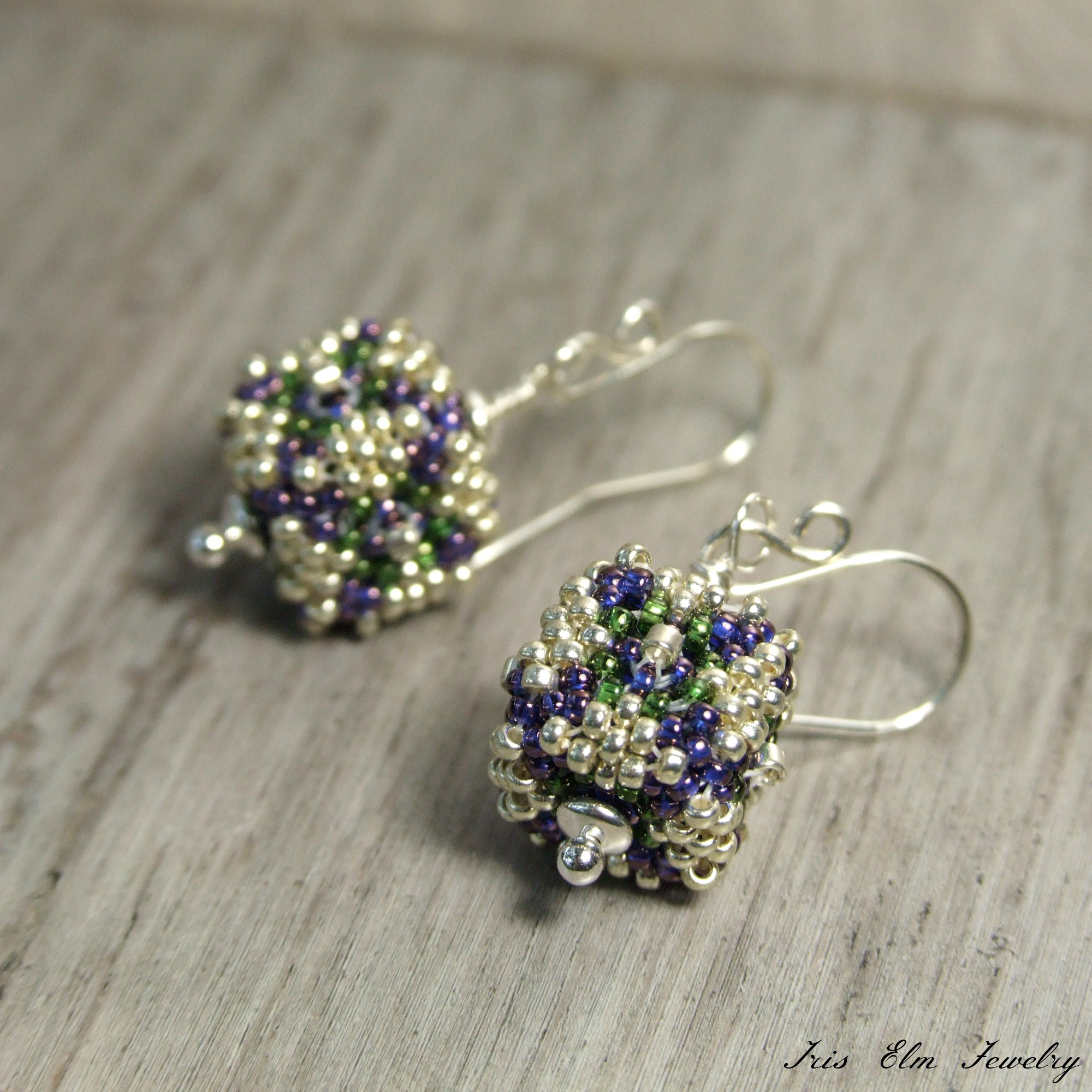 Purple & Green Small Cube Beaded Bead Silver Drop Earrings