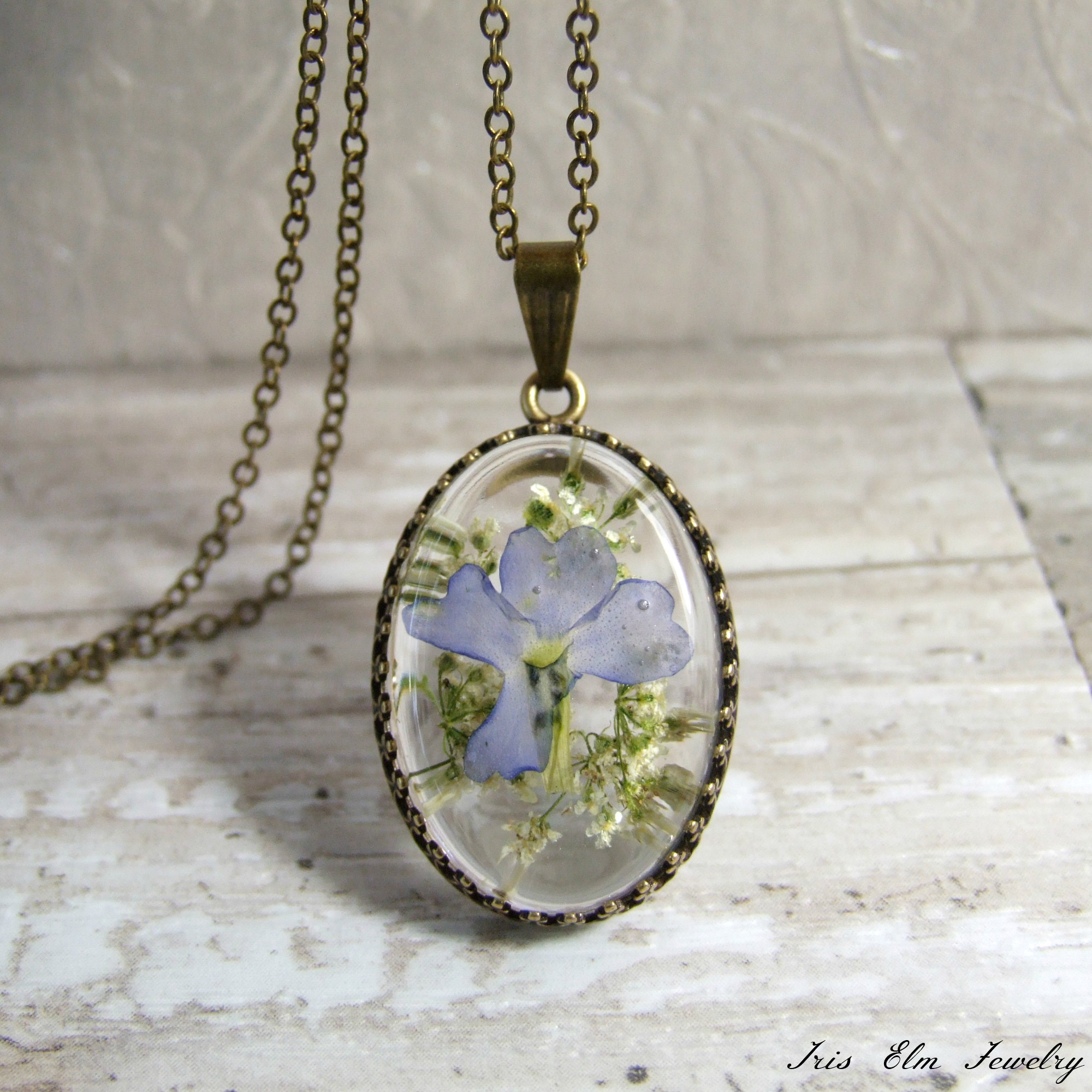Light Purple Real Pressed Flower Vintage Style Necklace