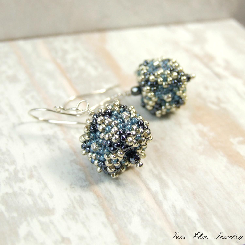 Blue & Silver Beadwoven Glass Cube Drop Earrings
