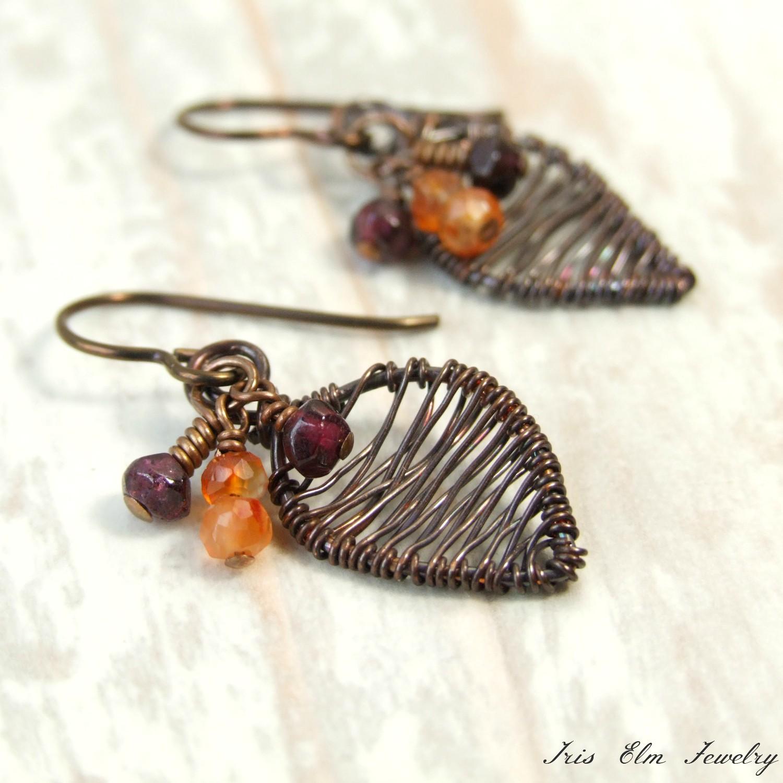 Garnet & Carnelian Small Copper Wire Wrapped Leaf Earrings