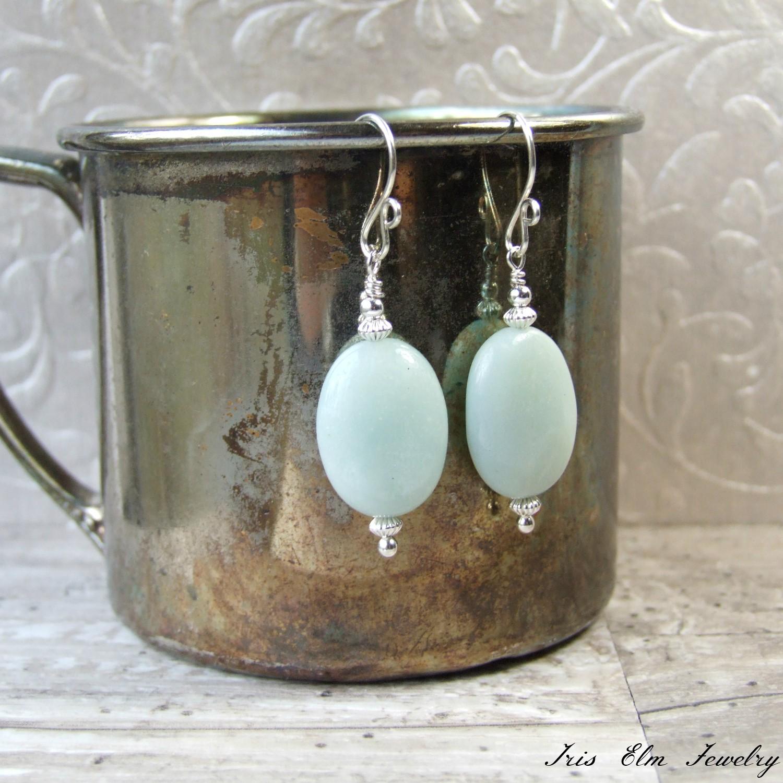 Light Blue Amazonite Oval Sterling Stone Earrings