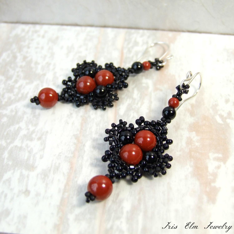 Red Jasper & Black Onyx Boho Earrings