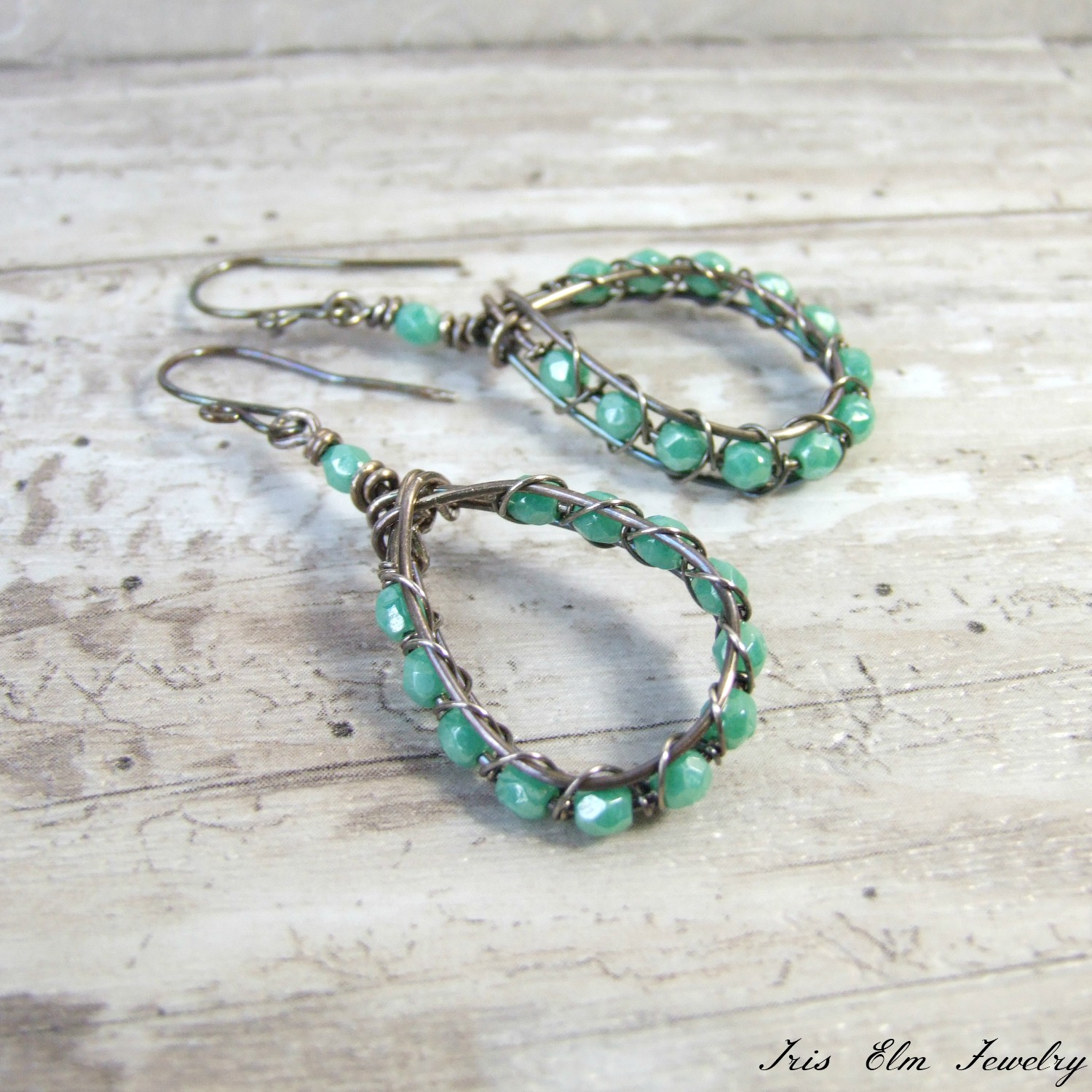 Turquoise Blue Czech Glass Oxidized Silver Wire Teardrop Earrings