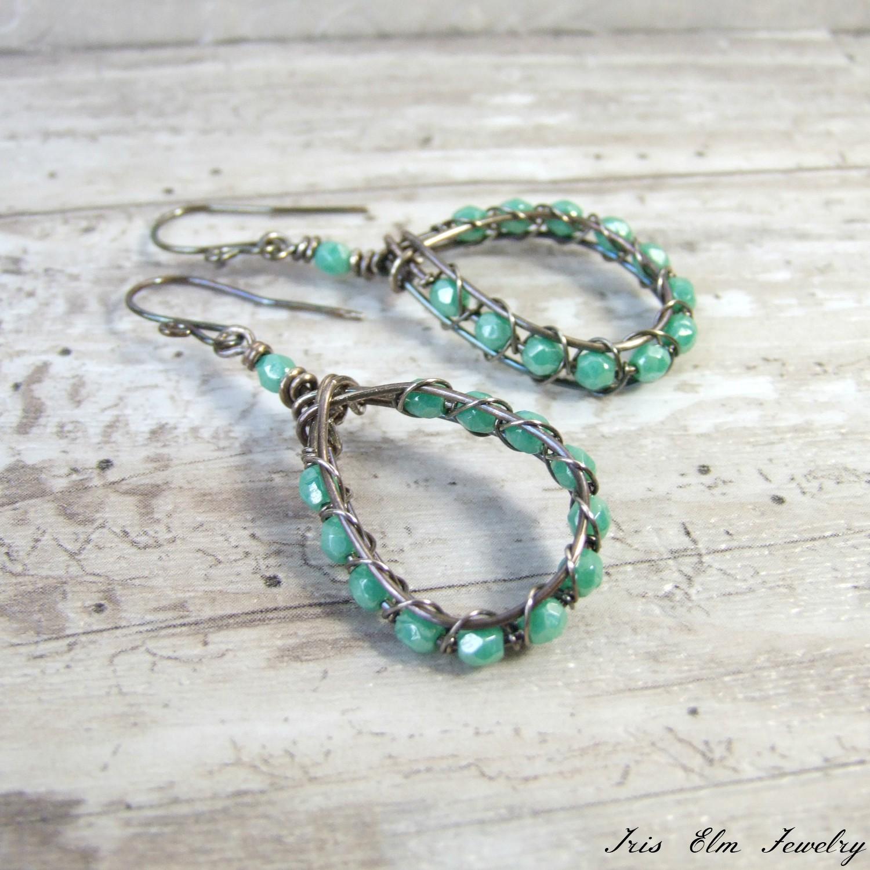 Turquoise Blue Czech Glass Oxidized Silver Wire Teardrop Earrings