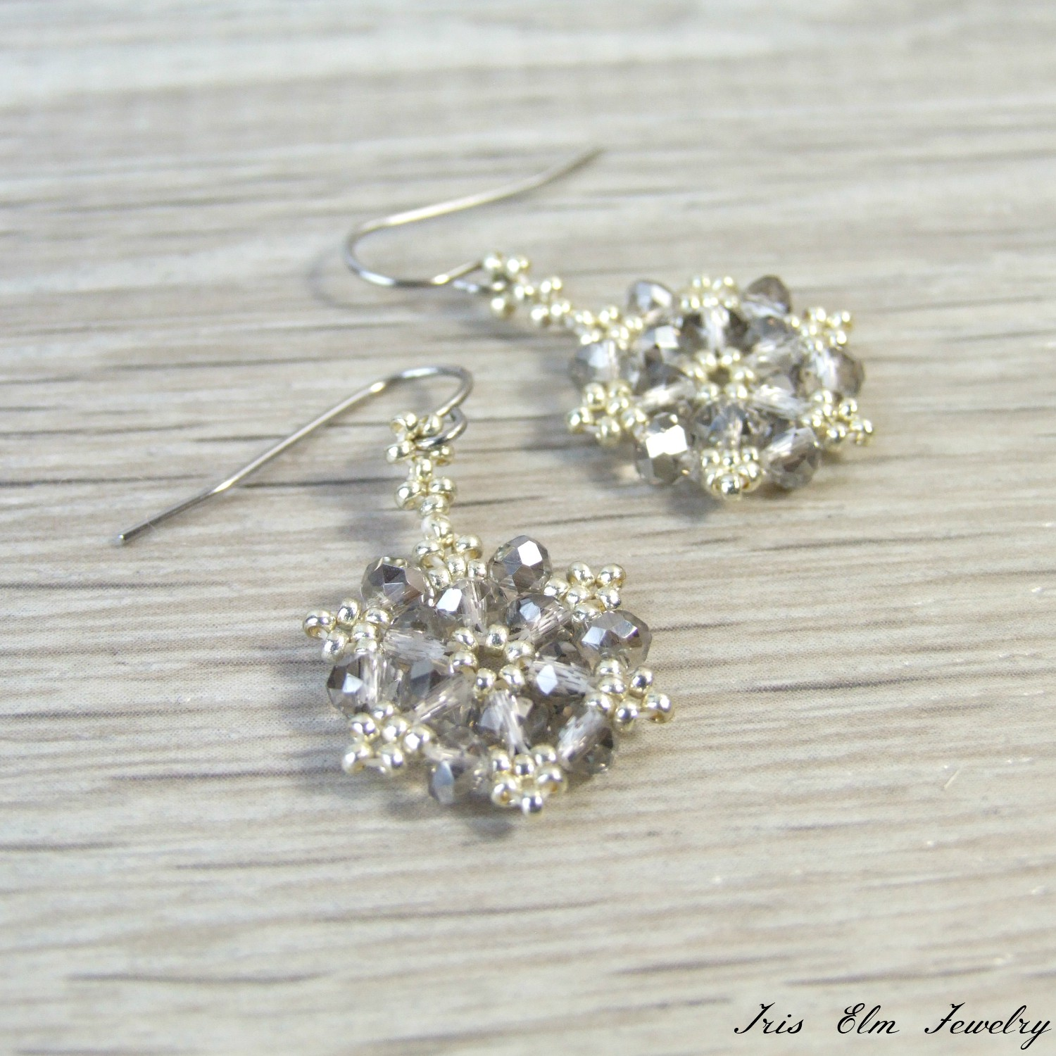 Grey & Silver Faceted Glass Beaded Snowflake Earrings