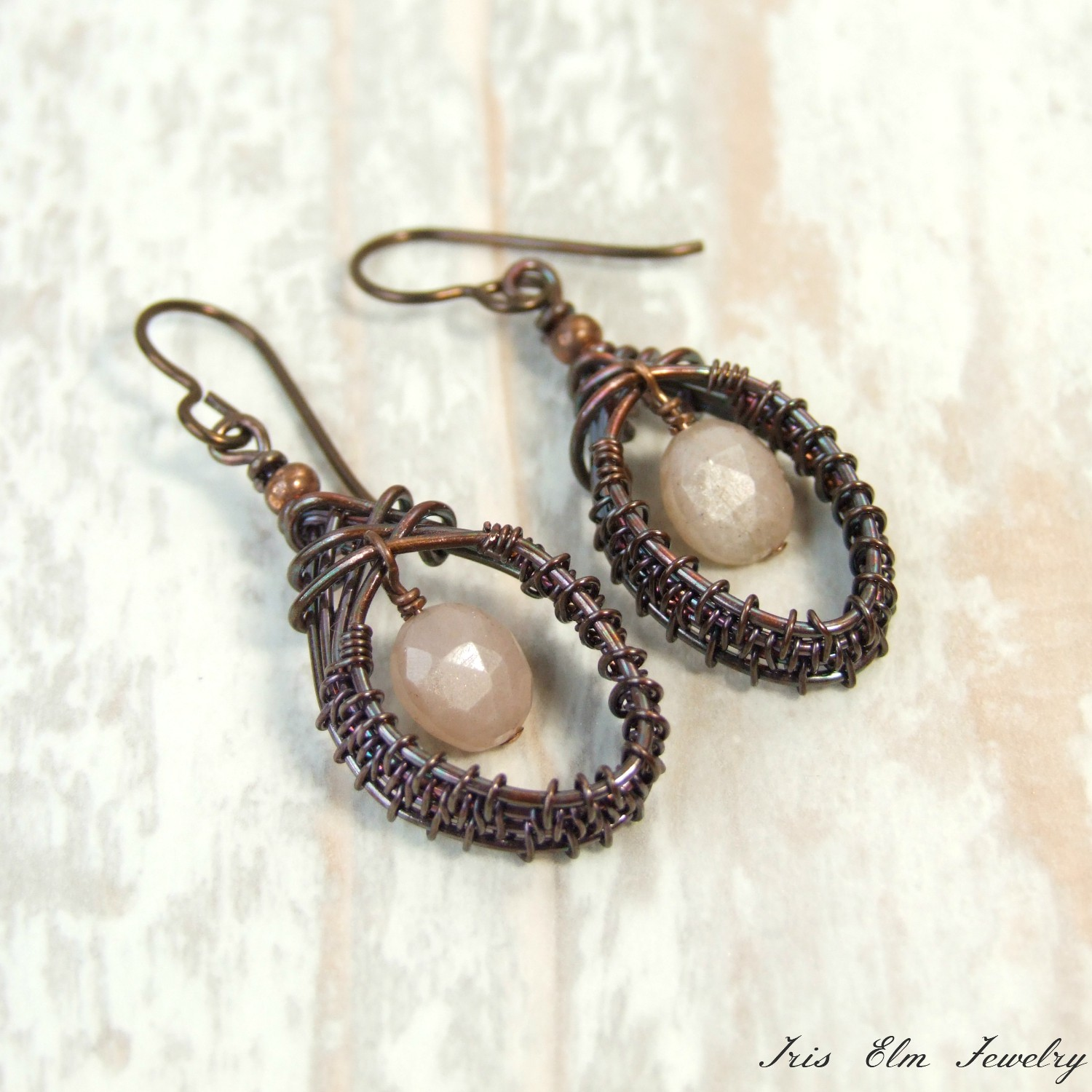 Peach Moonstone Wire Woven Copper Boho Earrings
