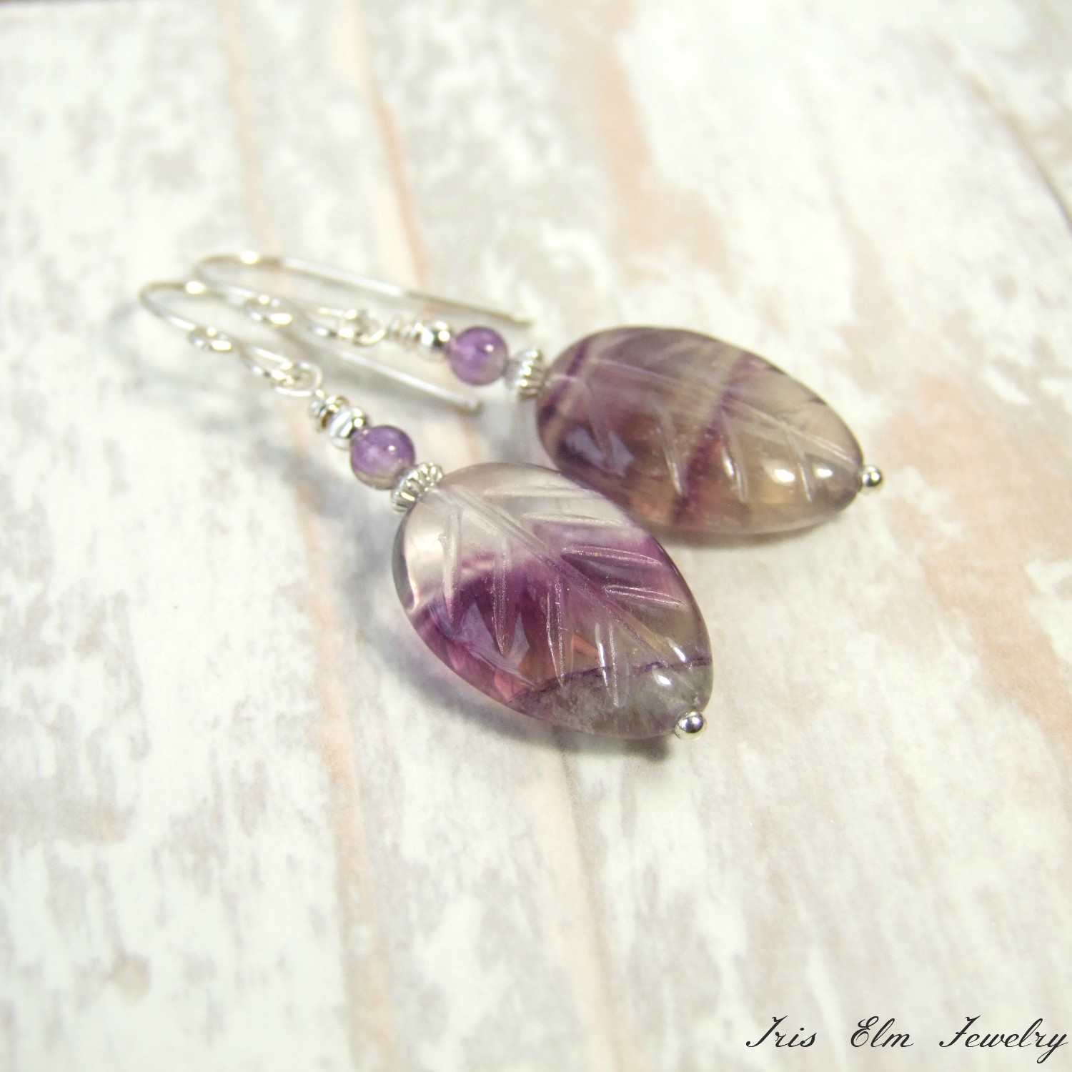 Sterling Silver Purple Amethyst & Rainbow Fluorite Leaf Earrings