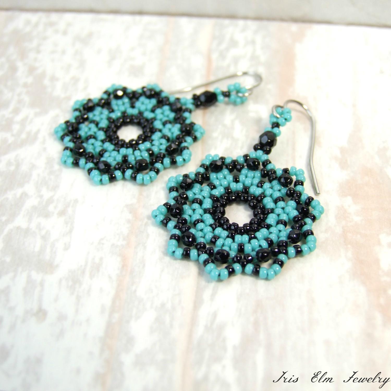 Black & Blue Glass Seed Bead Woven Mandala Boho Earrings
